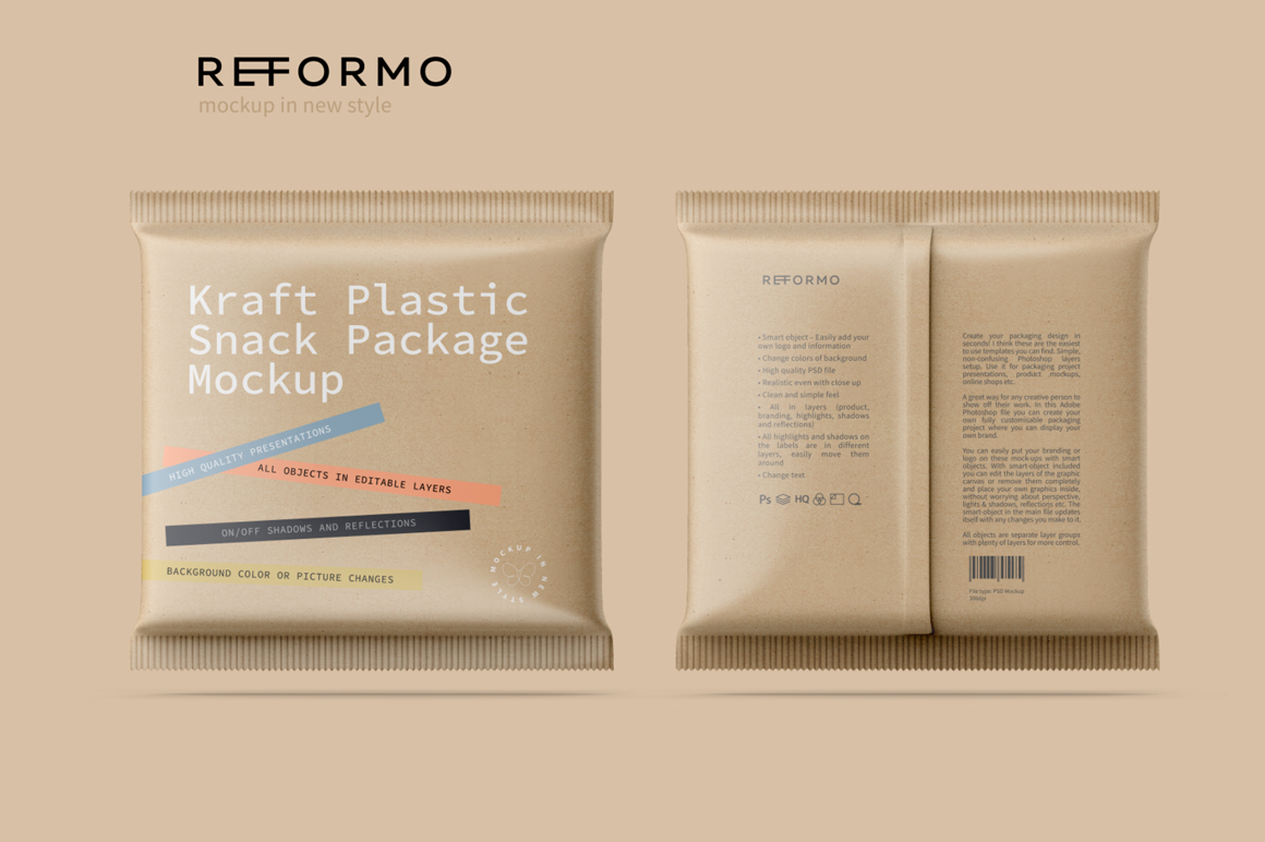 Kraft Snack Package Mockup Front & Back View example image 1
