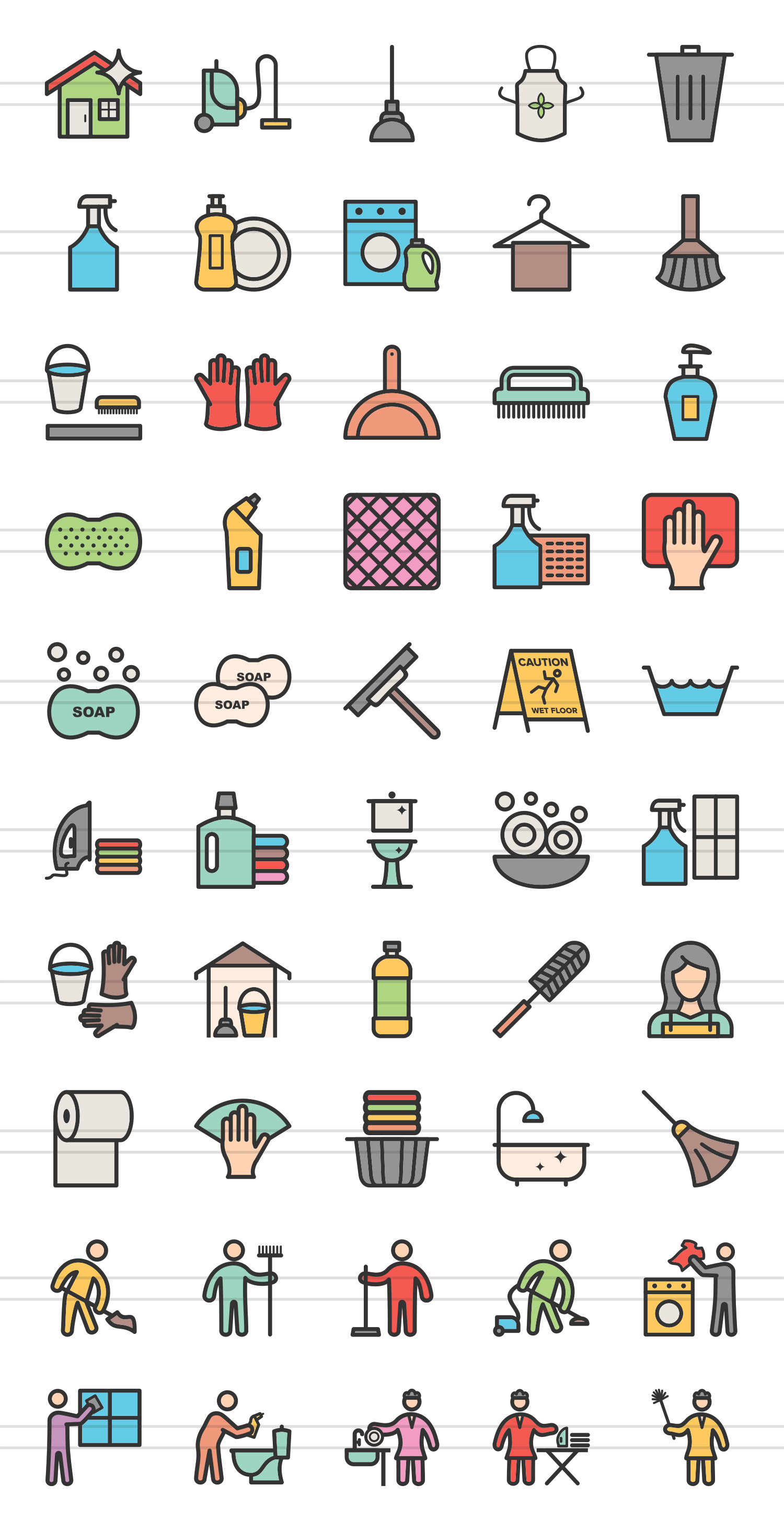 50 Cleaning Services Linear Multicolor Icons example image 2