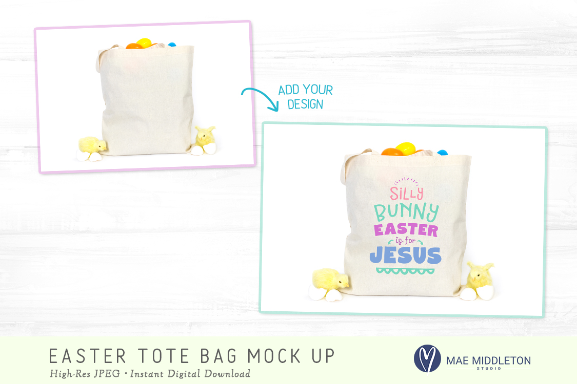 Tote Bag mock up for Easter example image 2