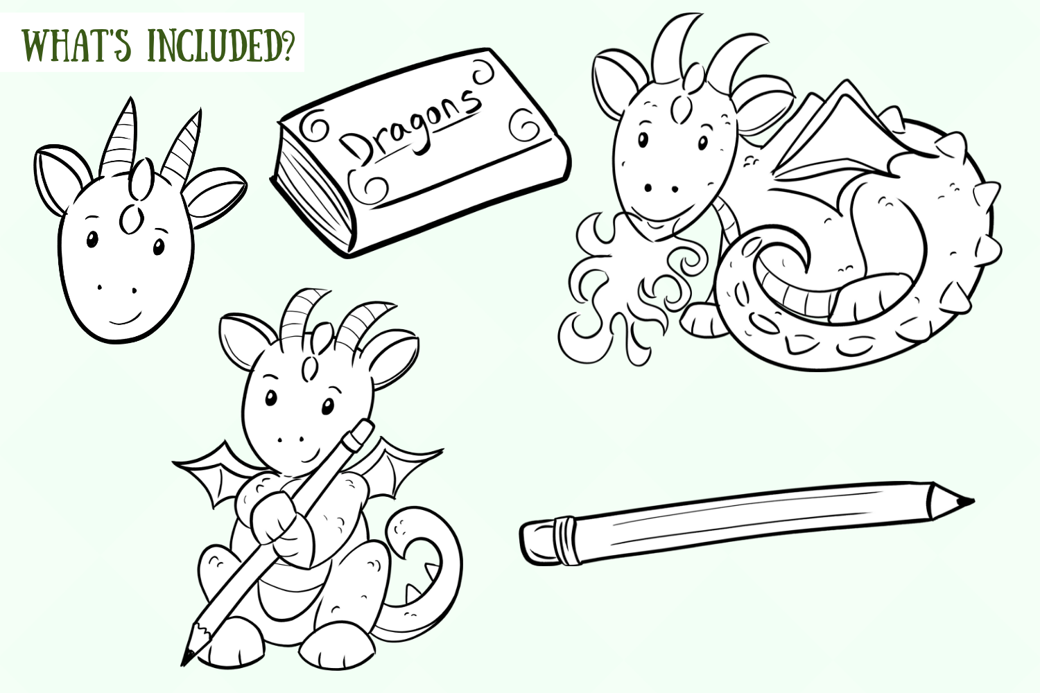 Cute Dragons Digital Stamps example image 2