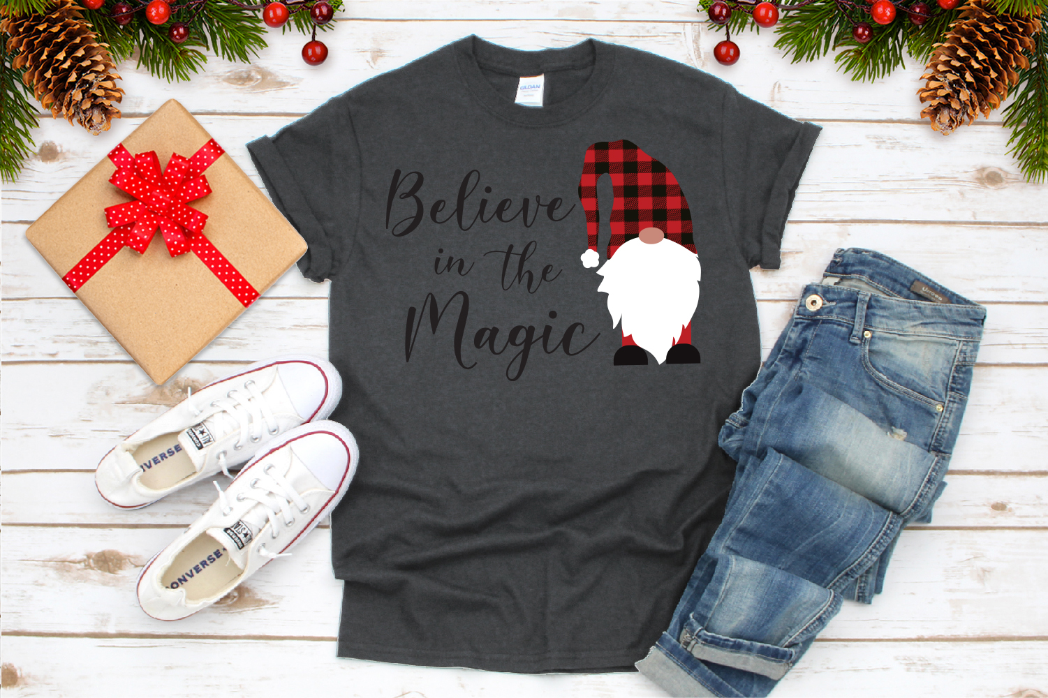 Believe in Magic, Gnome Buffalo Plaid Svg example image 3