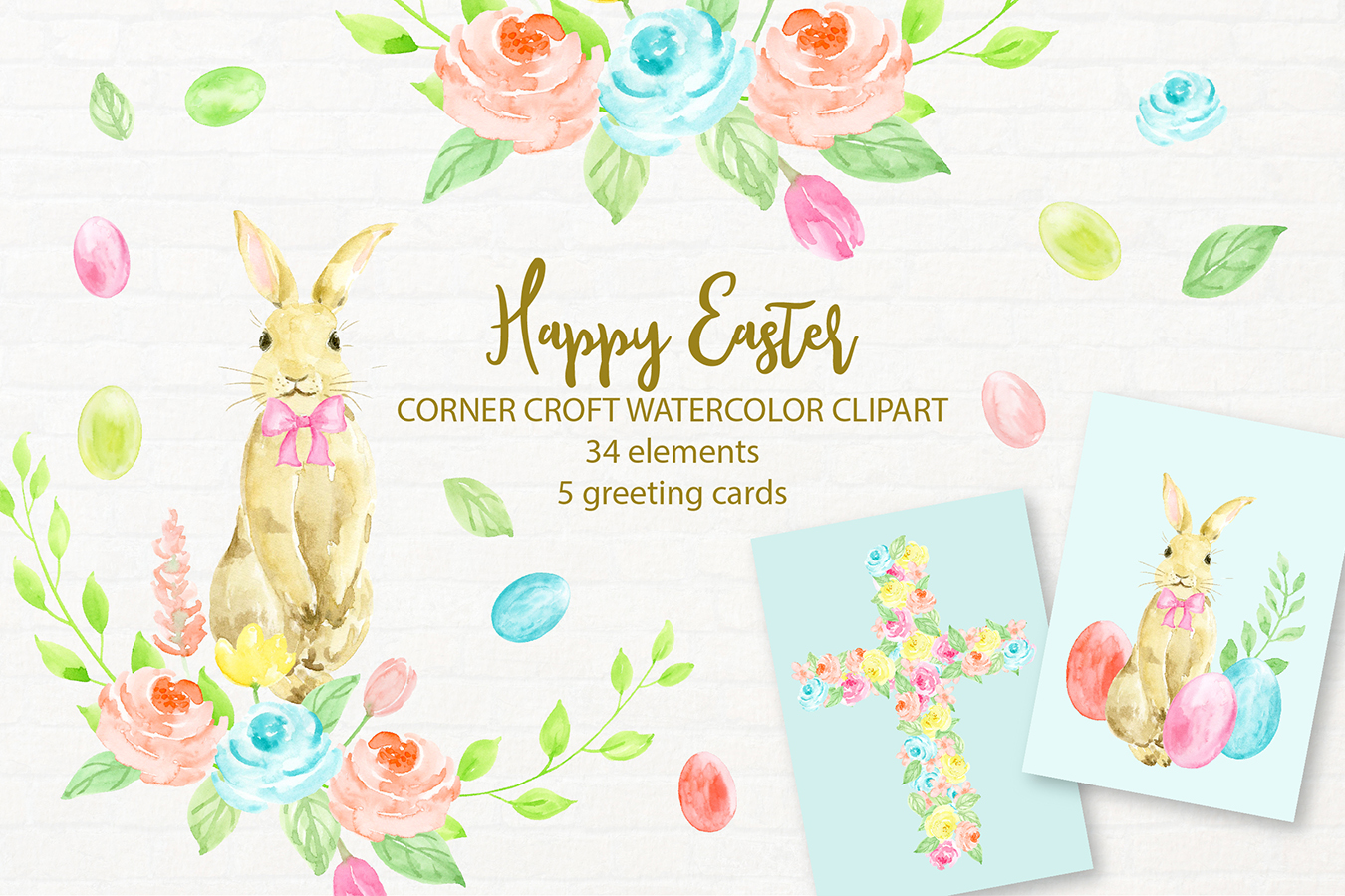 Watercolor Illustration Happy Easter example image 1