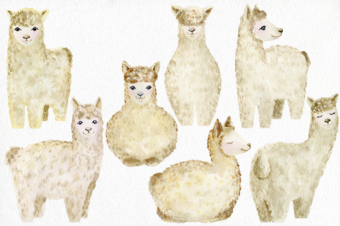 Watercolor llamas. Kit. example image 2