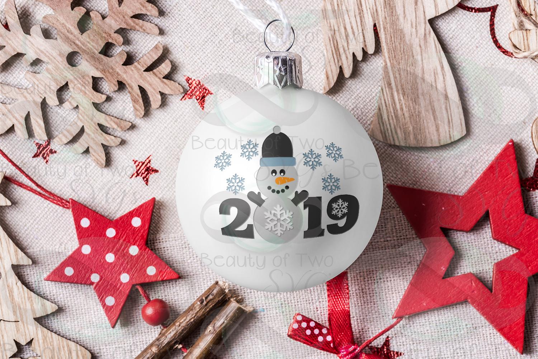 Christmas Snowman Ornament svg, Snowman 2019 svg Snowman svg example image 1