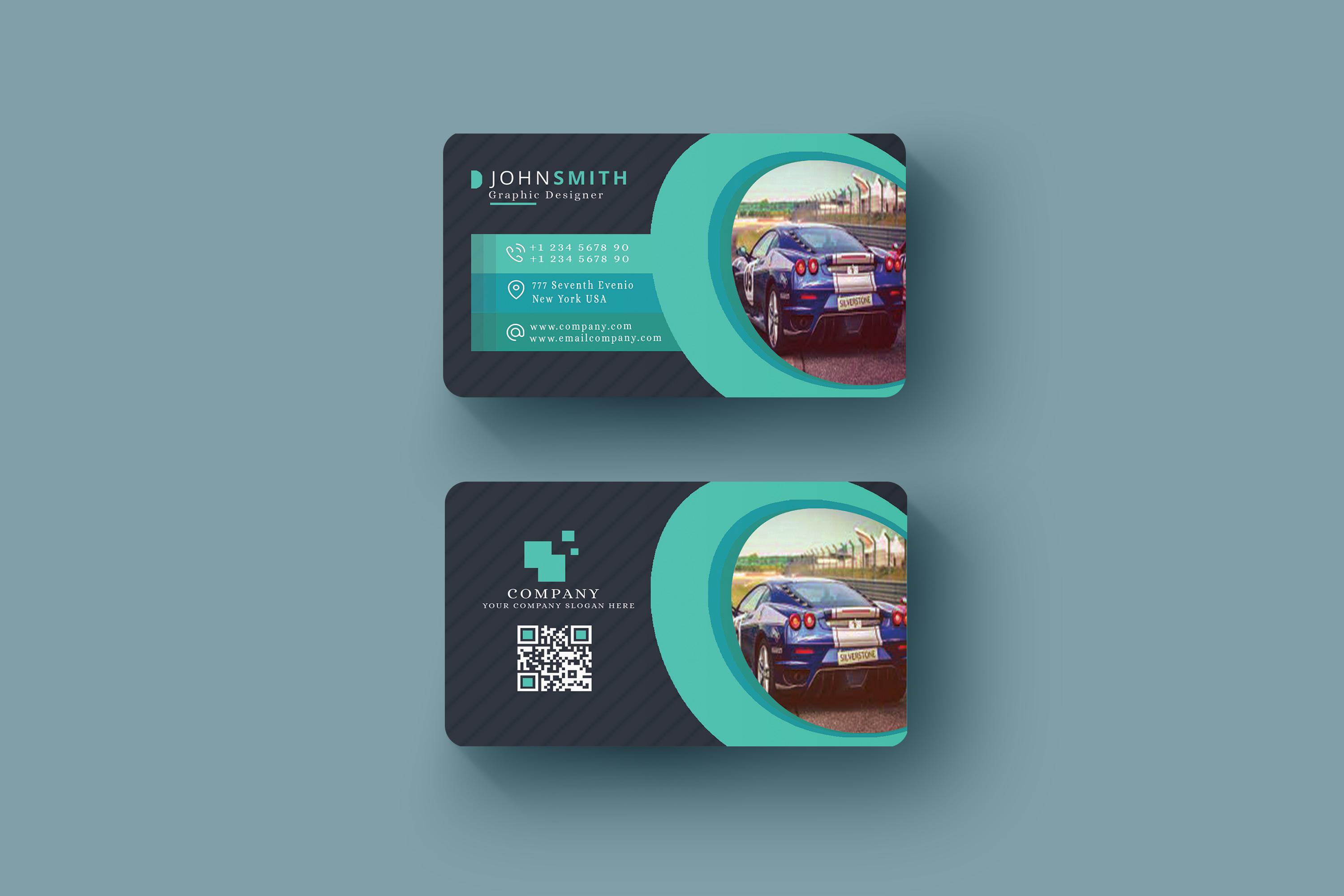 Abstract Business Card in Multicolor Design Template  example image 3