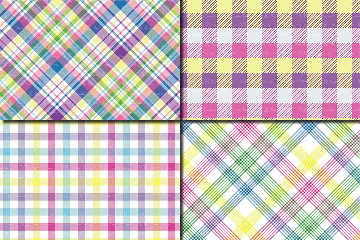 Easter Plaid Digital Paper / Spring Pastel Plaid Pattern example image 2