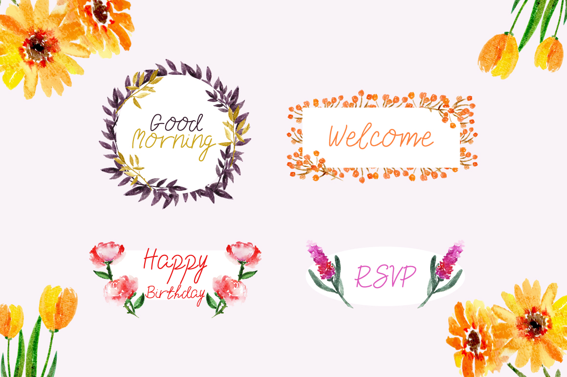 Beauty Pearl Font & Watercolor Floral Bundle example image 2