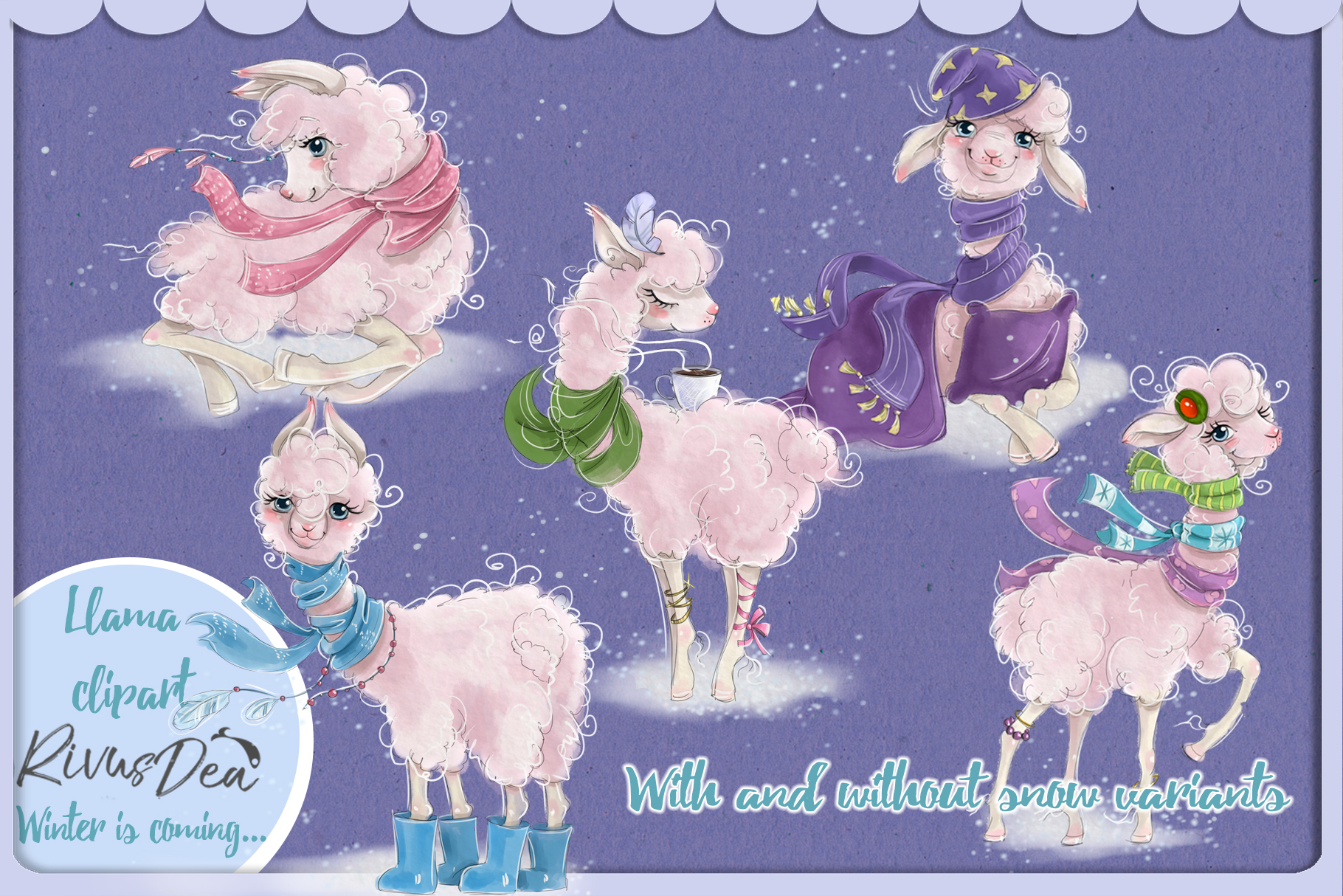 Cute llama alpaca clipart kit baby animals example image 2