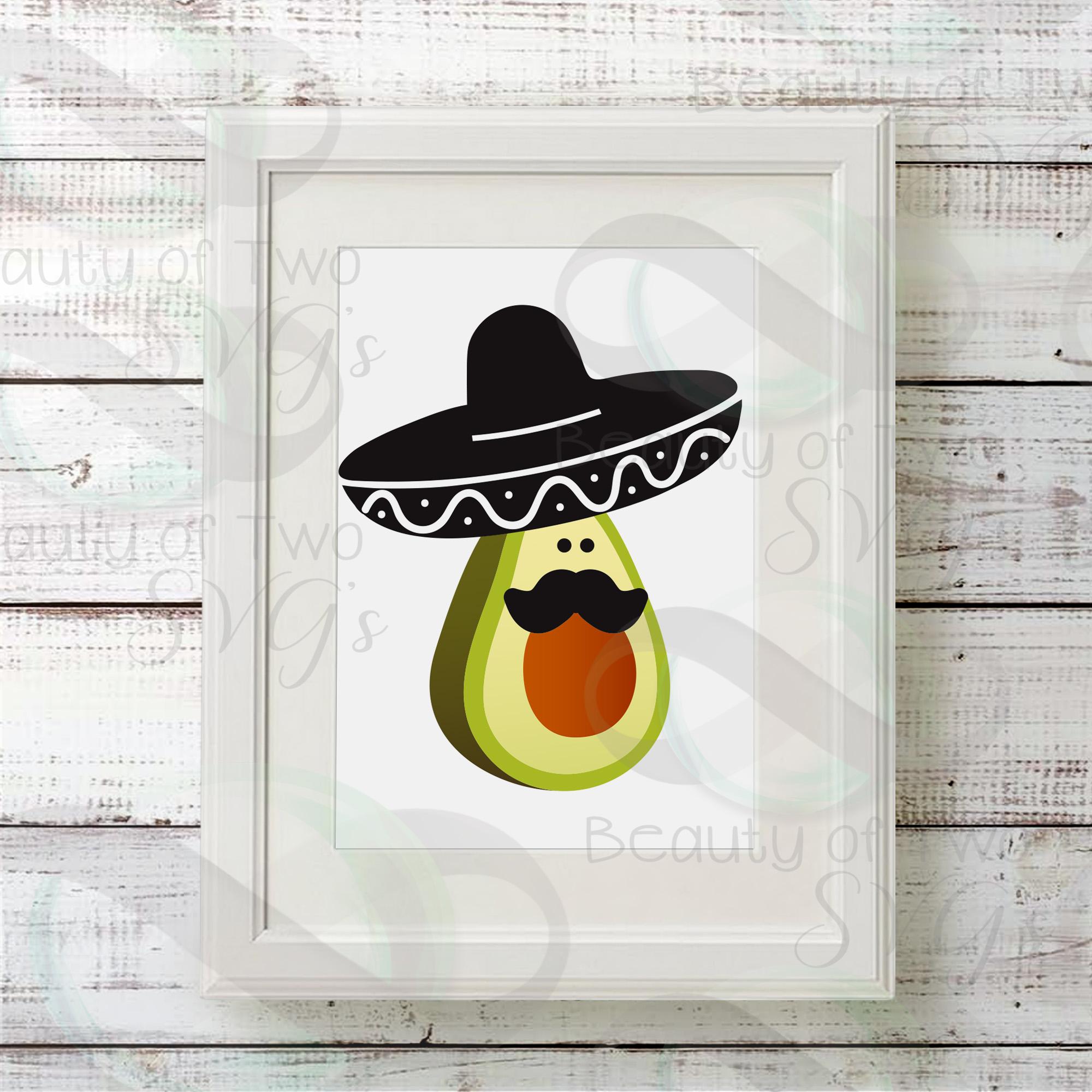 Cinco de Mayo avocado svg & png, avocado svg, sombrero svg example image 2