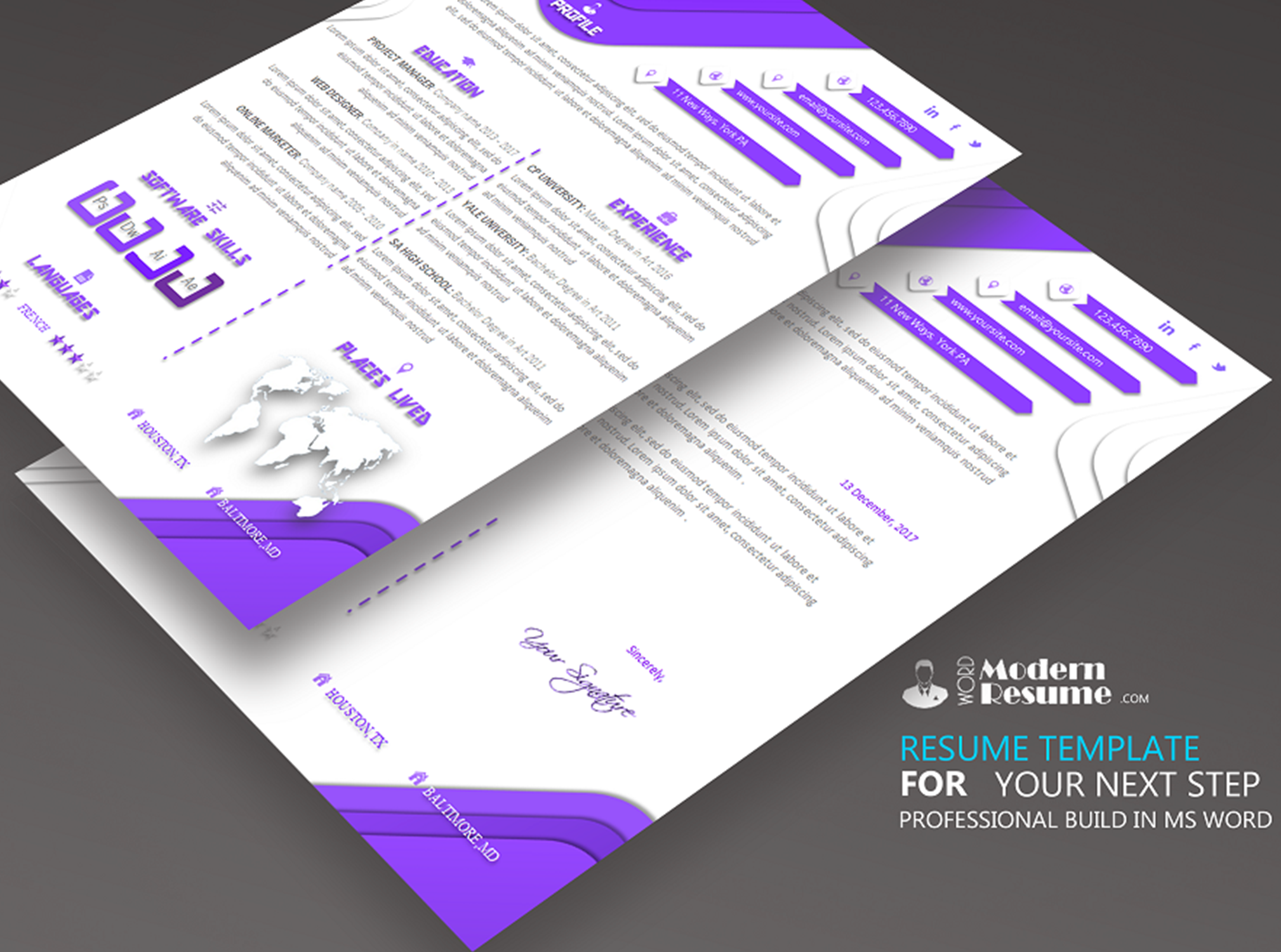 one page resume template  u0026 cover letter for microsoft word