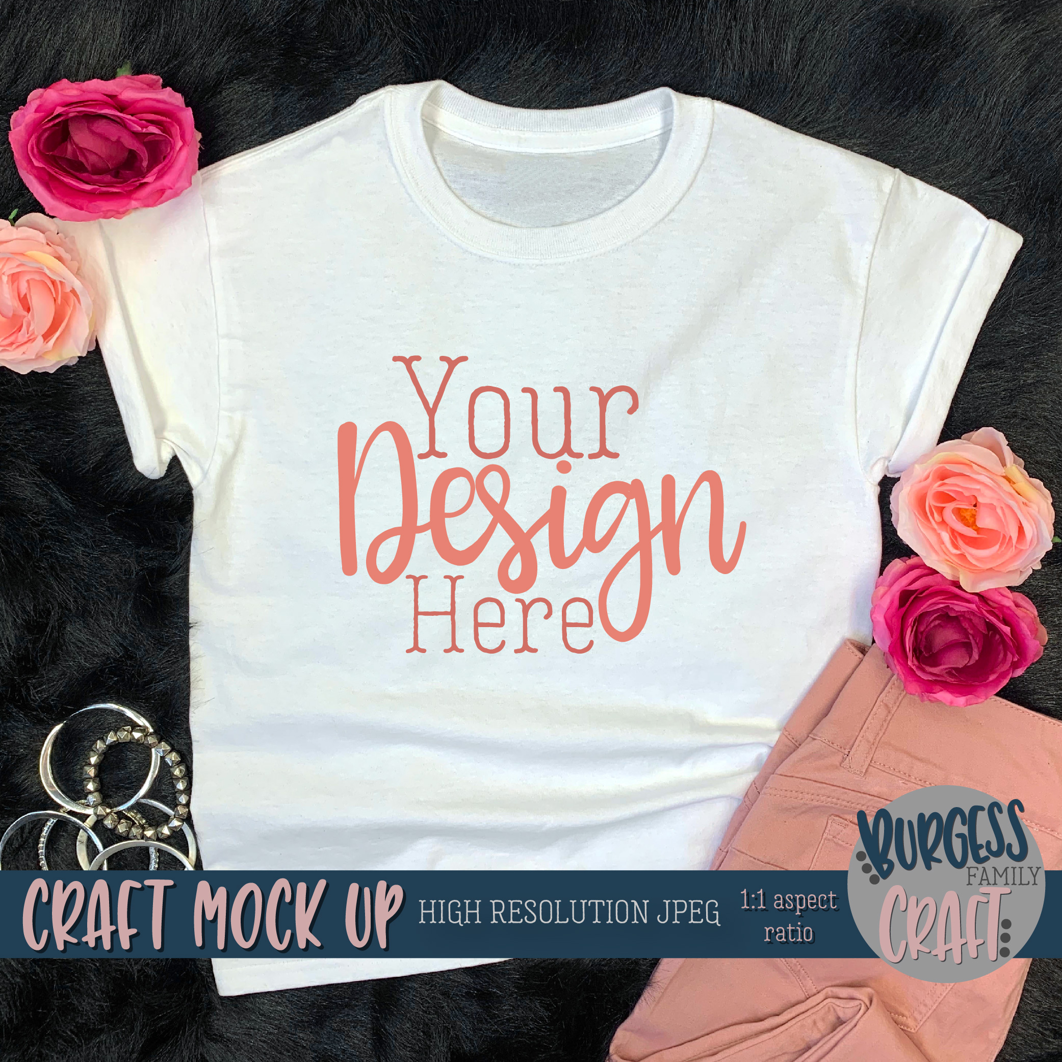 Youth Shirt Pretty in Pink Craft mock up | High Res JPEG example image 2