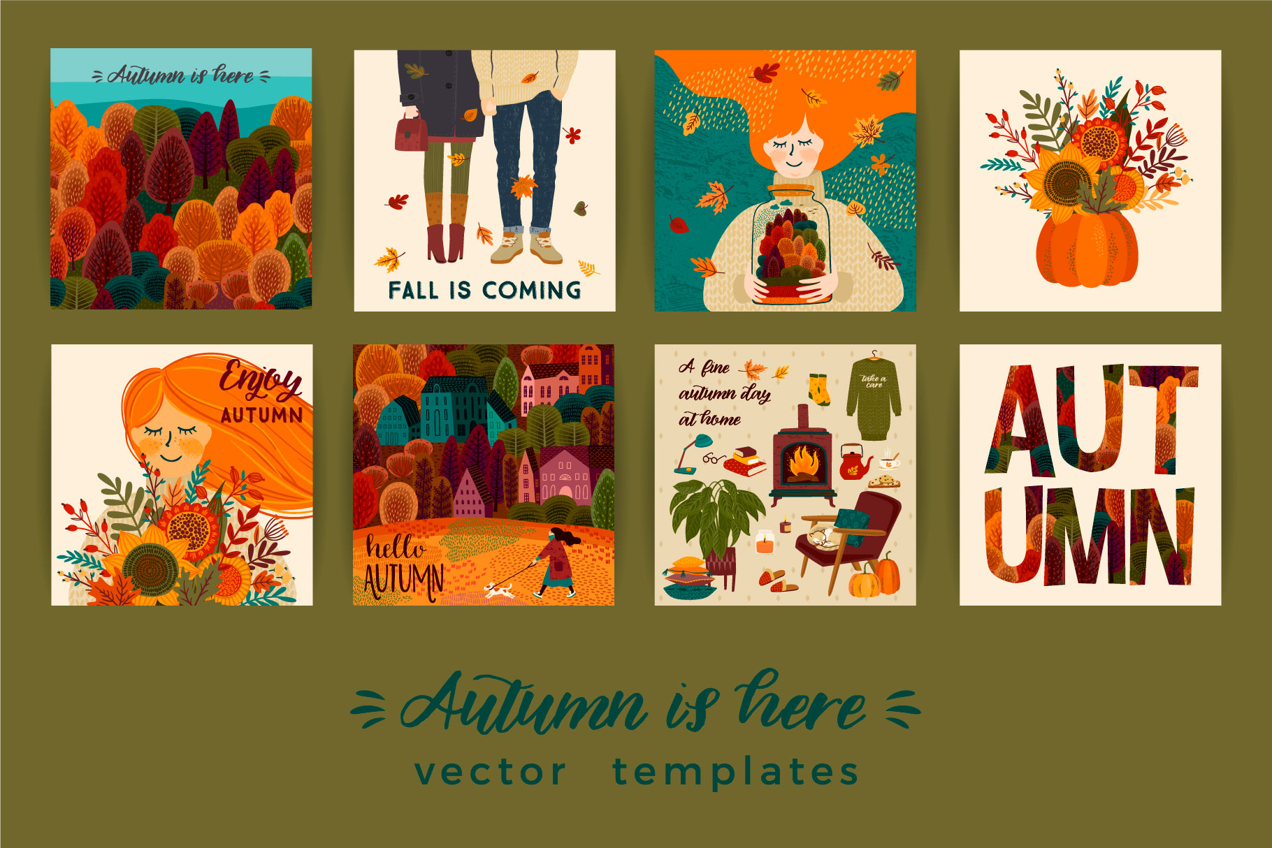 Autumn collection. Cards & patterns. example image 4