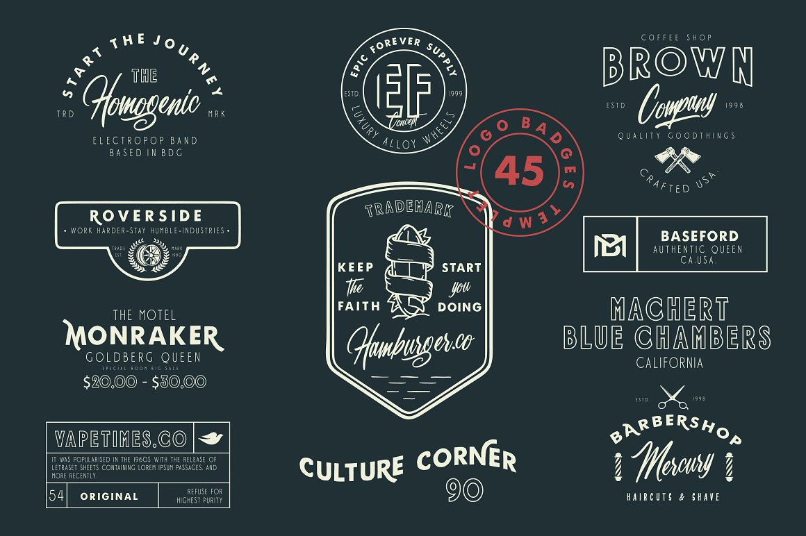 Harbour 5 Font Family & Extra Badges, illustration  example image 4