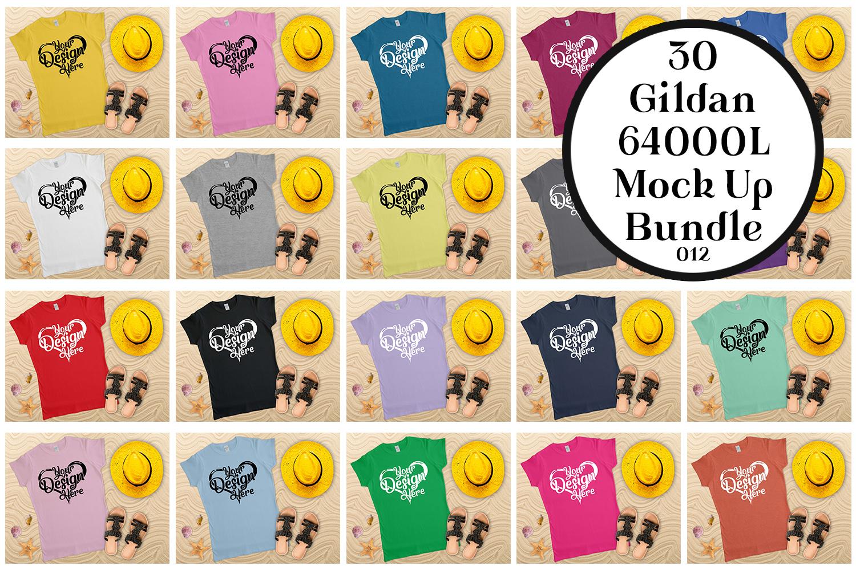 Gildan Ladies T-Shirt Mockup Bundle Flat Lay example image 1