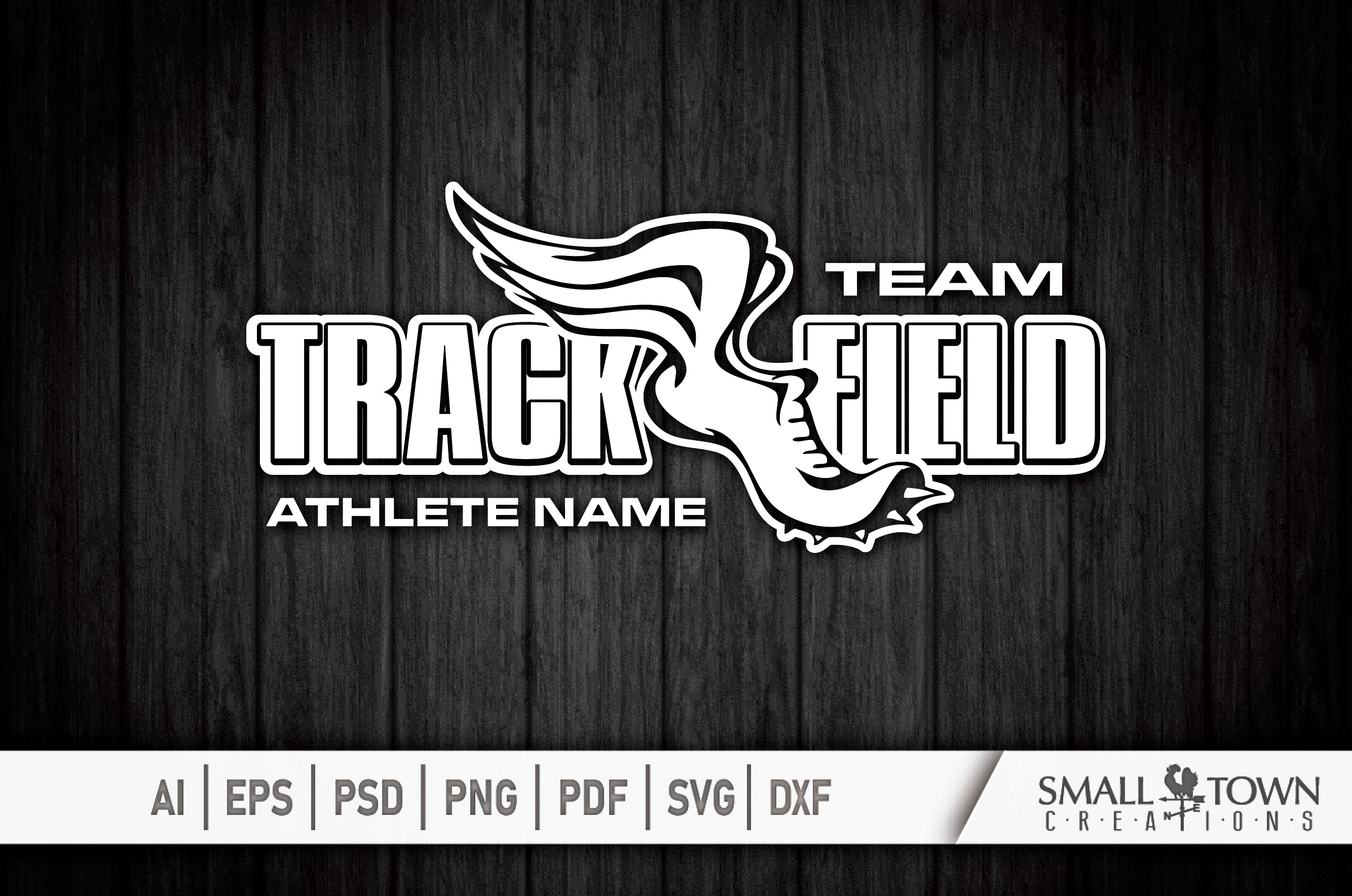Track and Field, Team logo, Winged shoe, PRINT, CUT & DESIGN example image 4