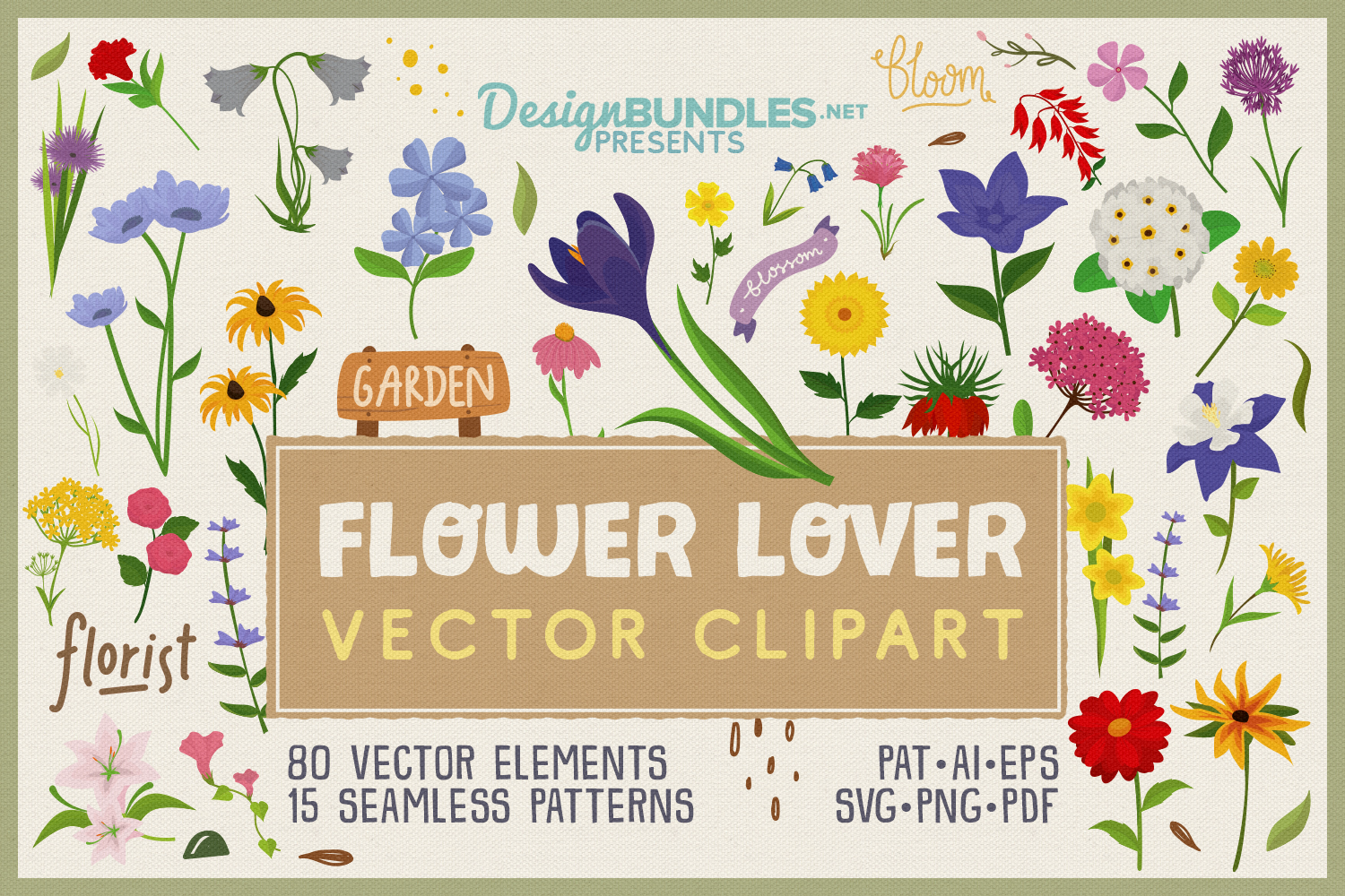 80 Flower Lover Vector Clipart & Seamless Patterns example image 1