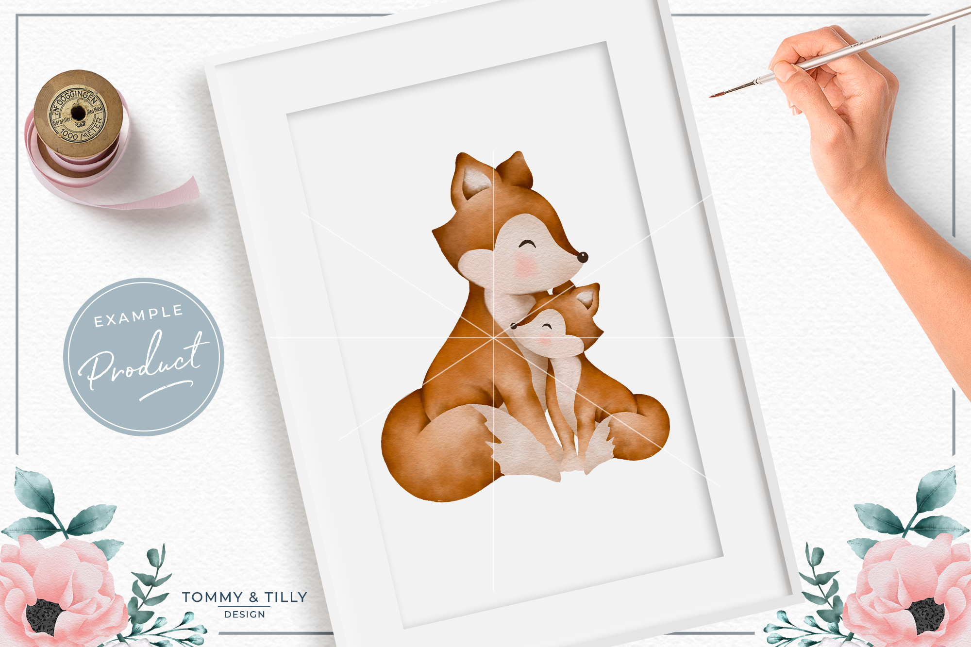 Mummy and Baby Fox - Sublimation PNG Clipart example image 3