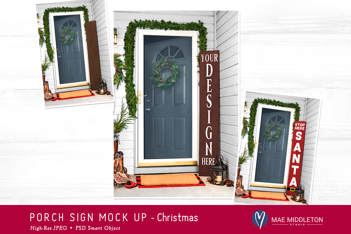 Porch Sign Christmas mock up example image 2