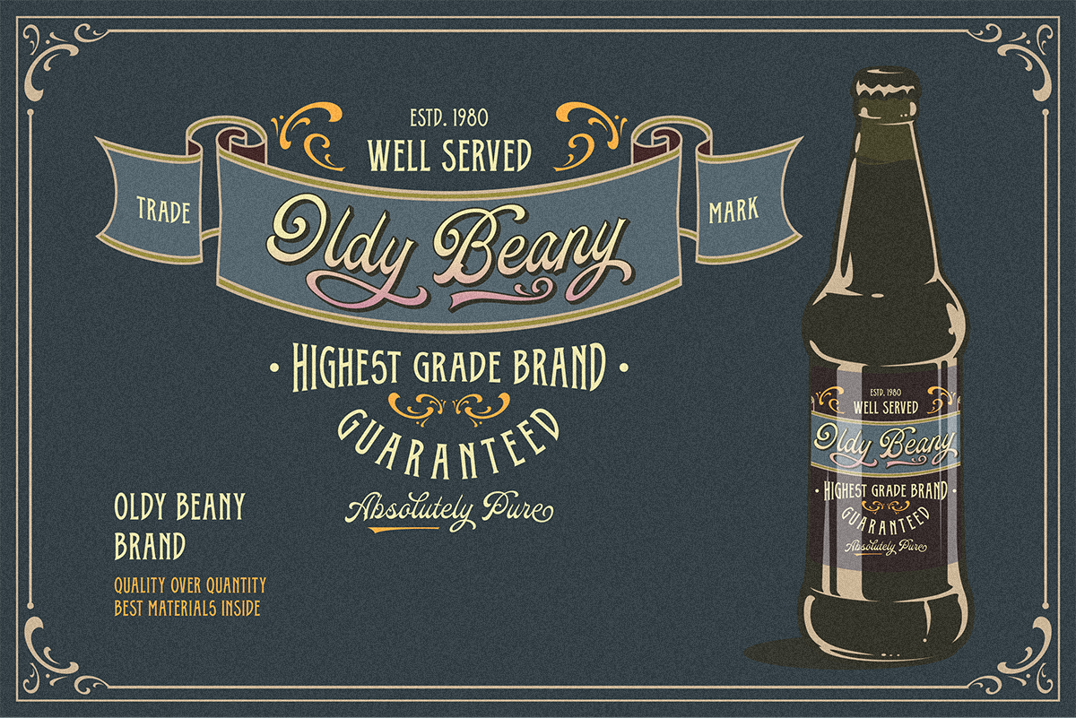 Oldy Beany Font Duo with Extras example image 3
