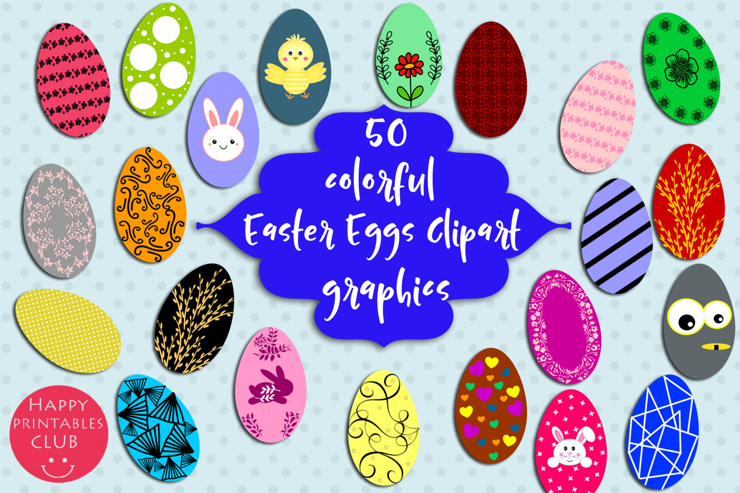 50 Colorful Easter Eggs Clipart-Cute Easter Eggs Clipart example image 1