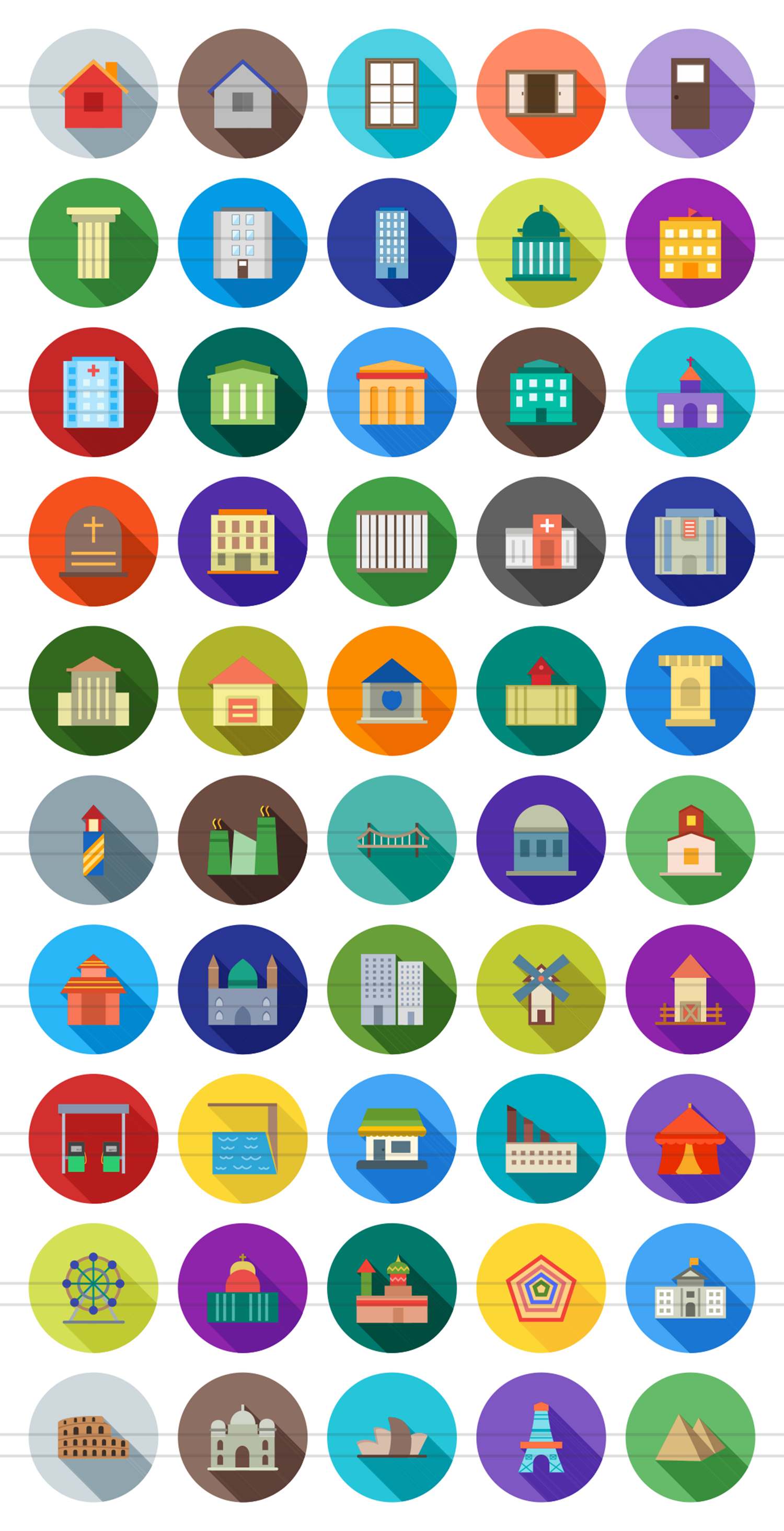 50 Buildings & Landmarks Flat Long Shadow Icons example image 2