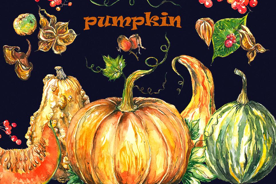 Pumpkin clipart, pumpkins clipart, watercolor pumpkin example image 1