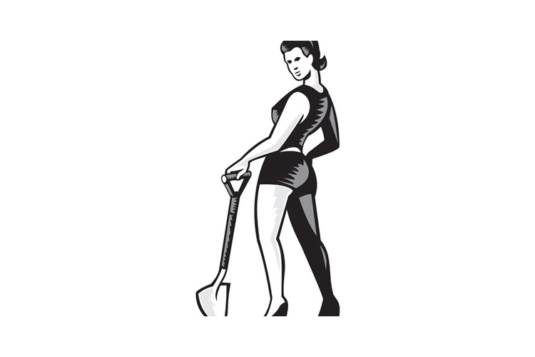 Pin-up Girl With Shovel Spade Retro example image 1