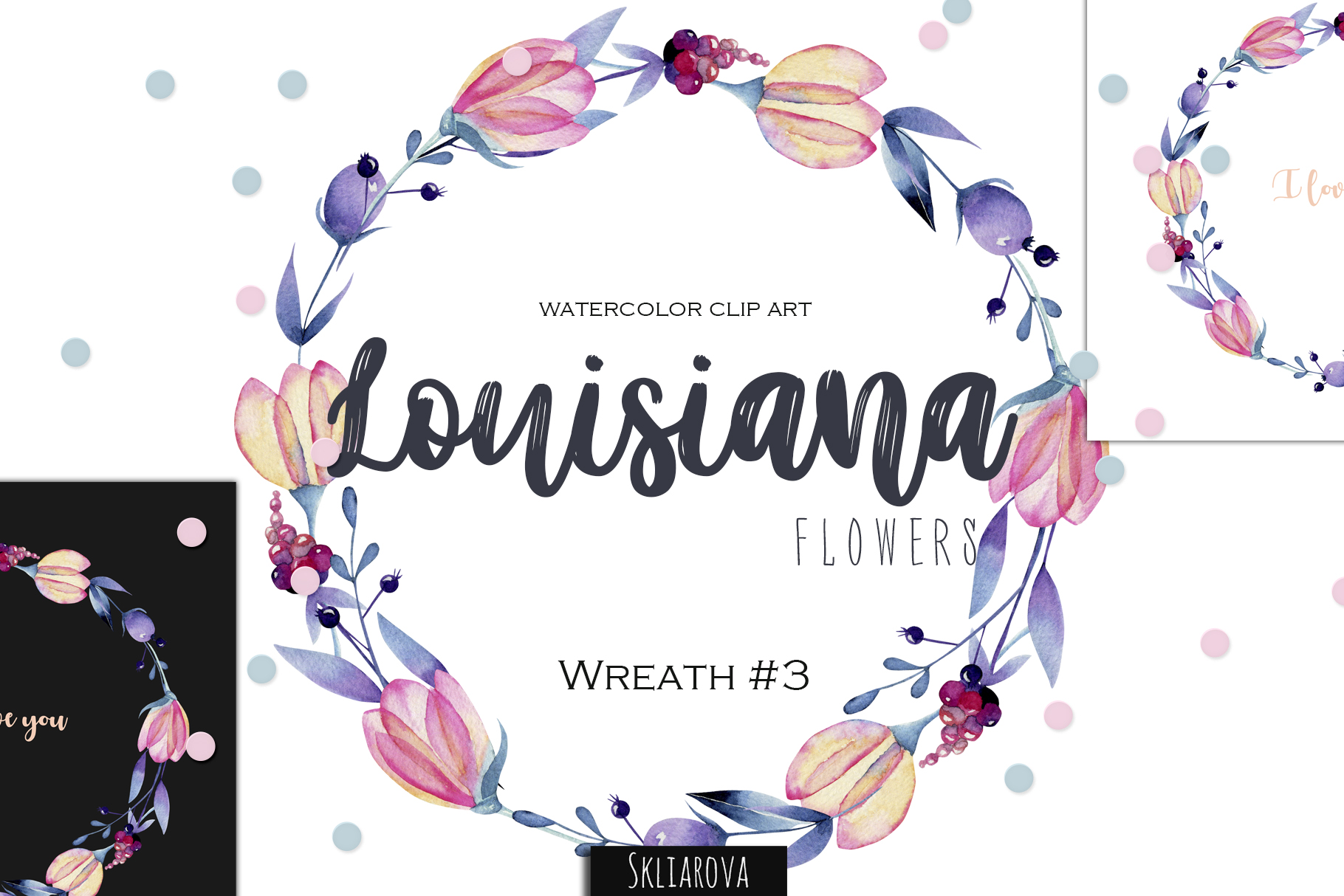 Louisiana flowers. Wreath#3 example image 1