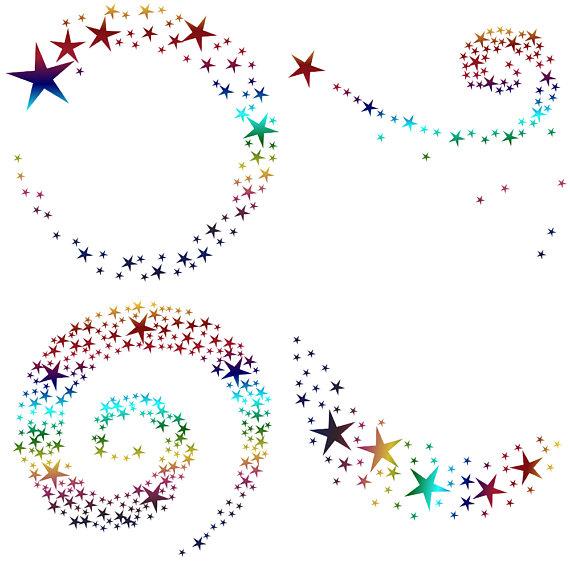 RAinbow Swirling Stars Clipart example image 3