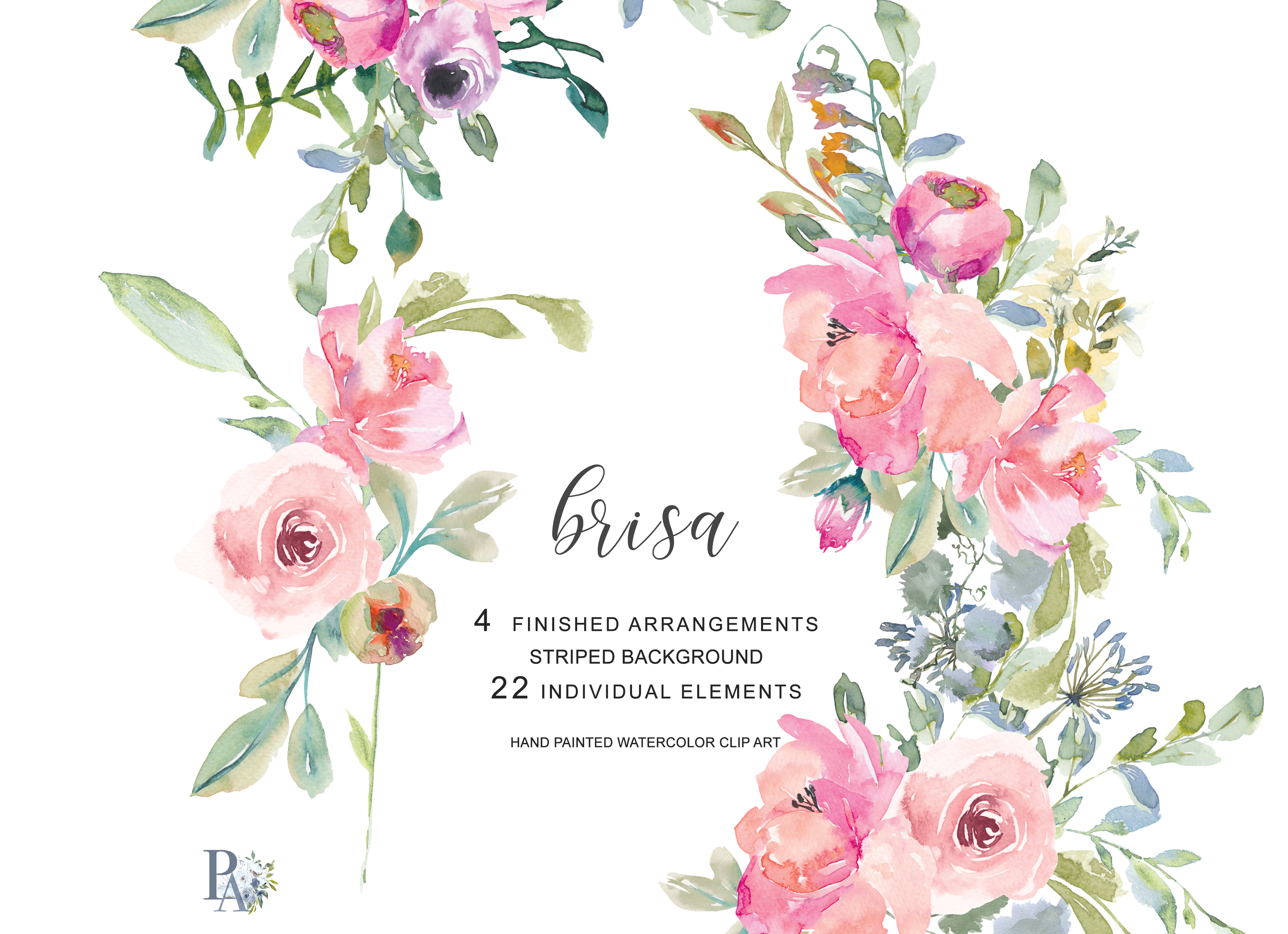 Hand Painted Watercolor Blush Pink Flowers Clipart