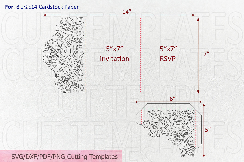 Roses wedding invitation Tri Fold Pocket Envelope set svg example image 9