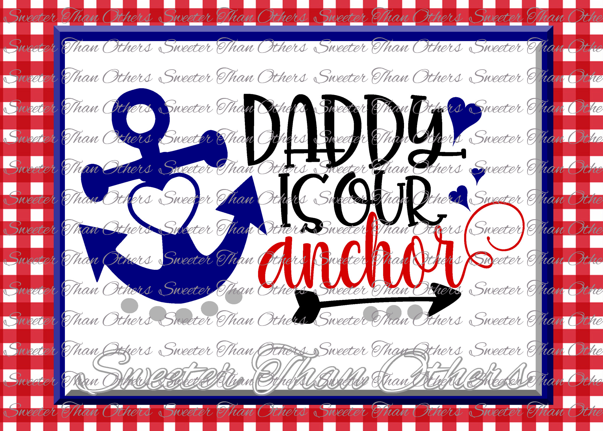 Daddy is Our Anchor SVG, Beach Svg, Summer beach pattern example image 1