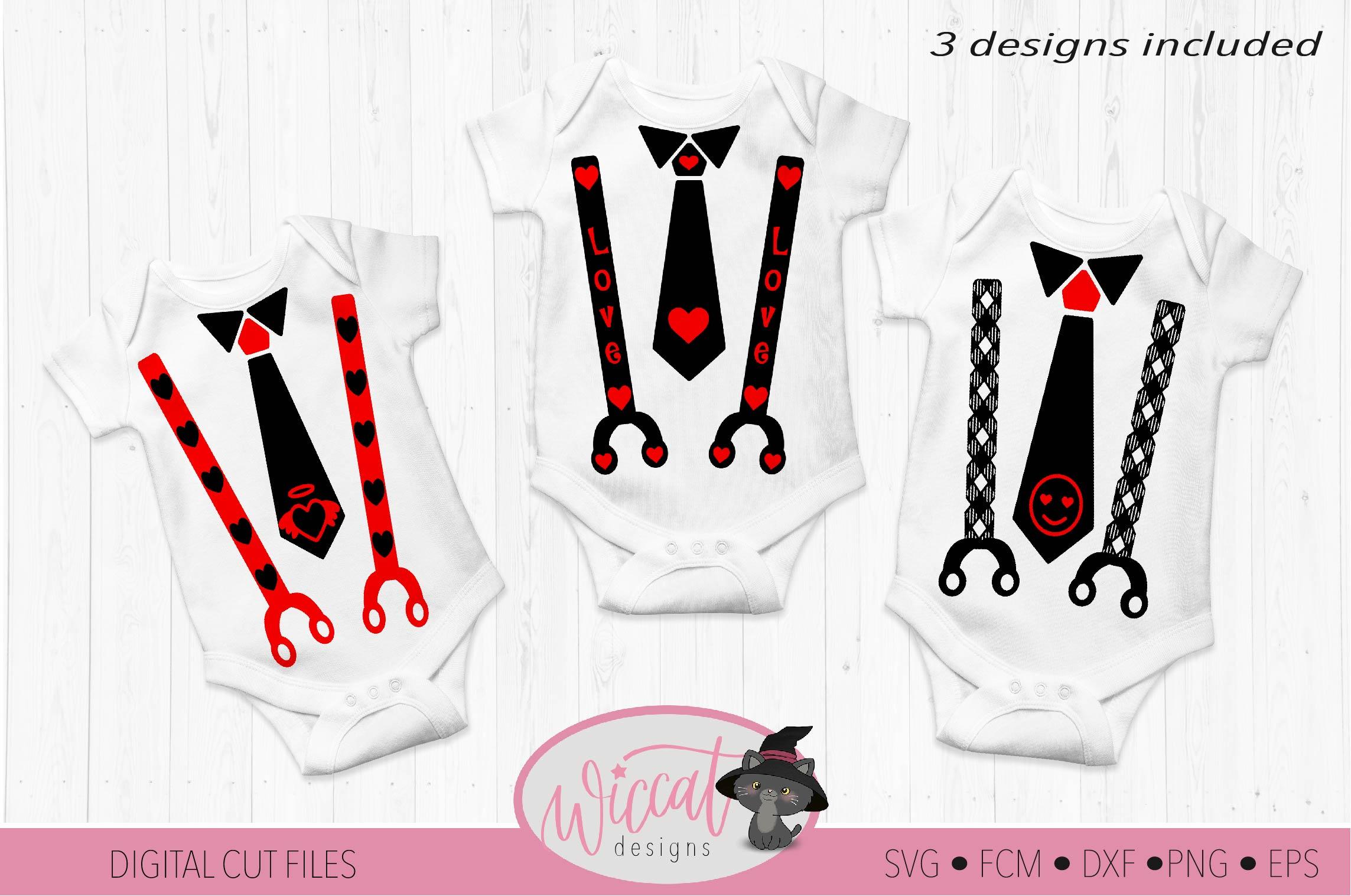 Valentine Baby tie and suspender svg example image 1