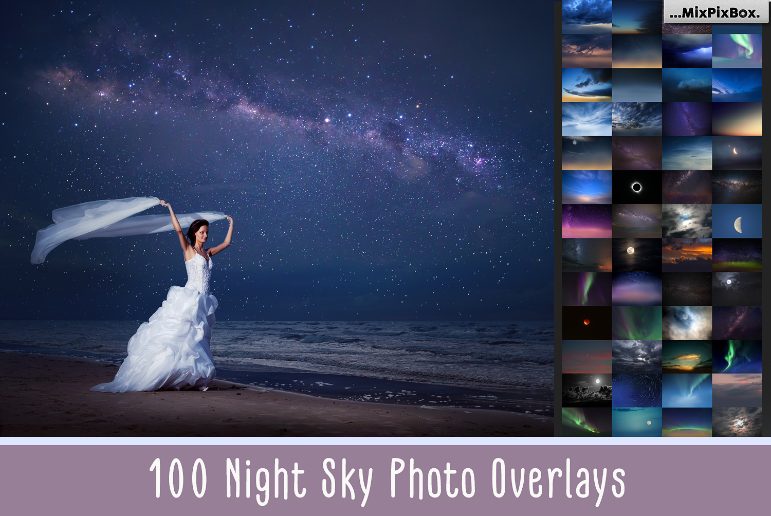 100 Night Sky Overlays example image 1