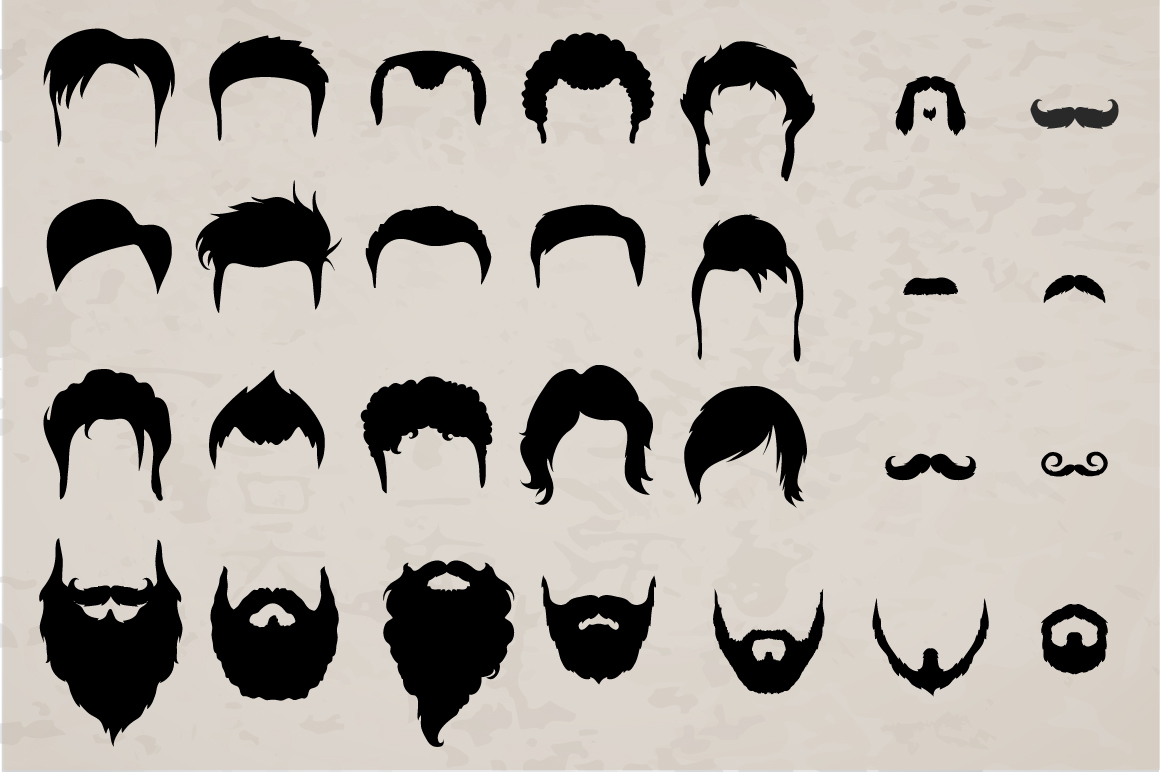 Vector Mustaches, beards and hair BIG set. example image 2