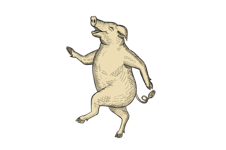 Jolly Pig Dancing Drawing Retro Color example image 1