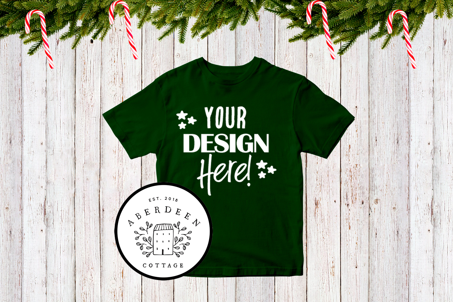 Children's Christmas Green T-Shirt Mock Up Style 2 example image 1