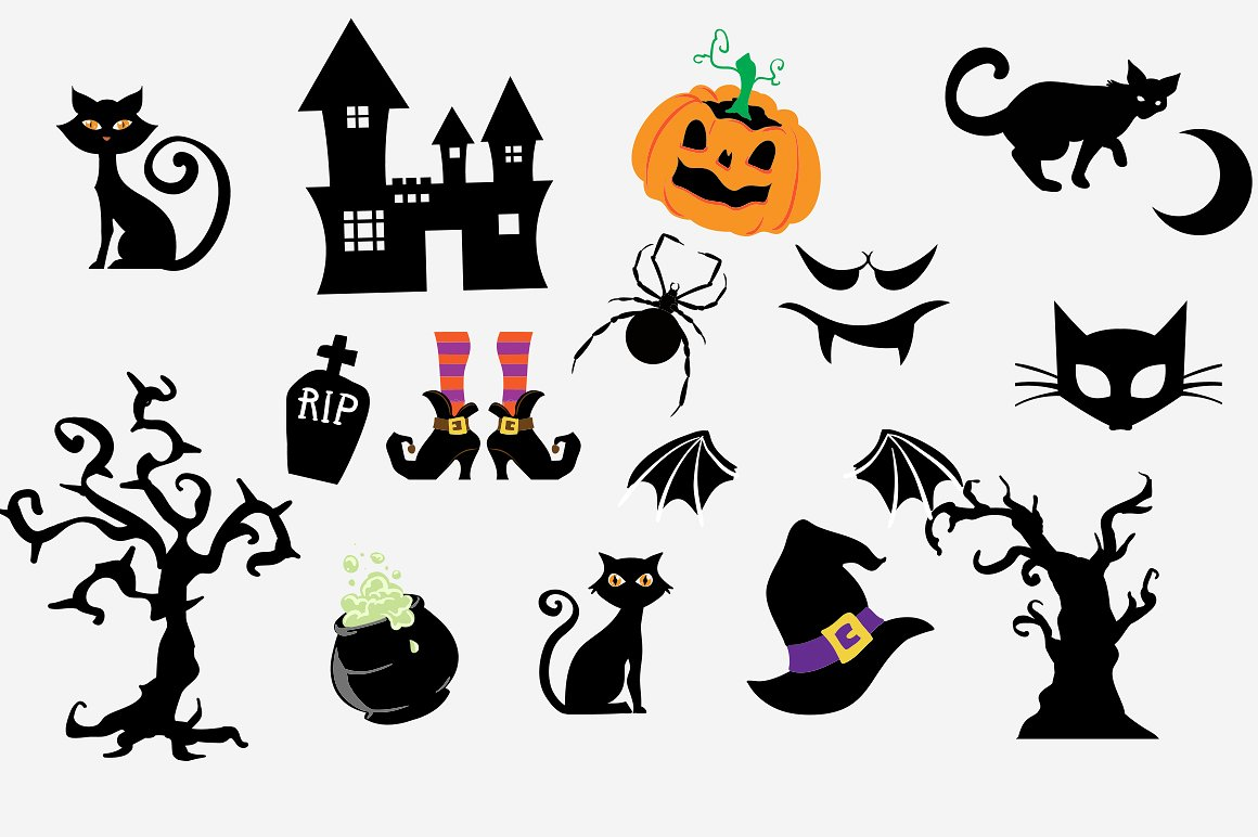 Halloween Clipart bundle 82 elements Eps and PNG example image 5