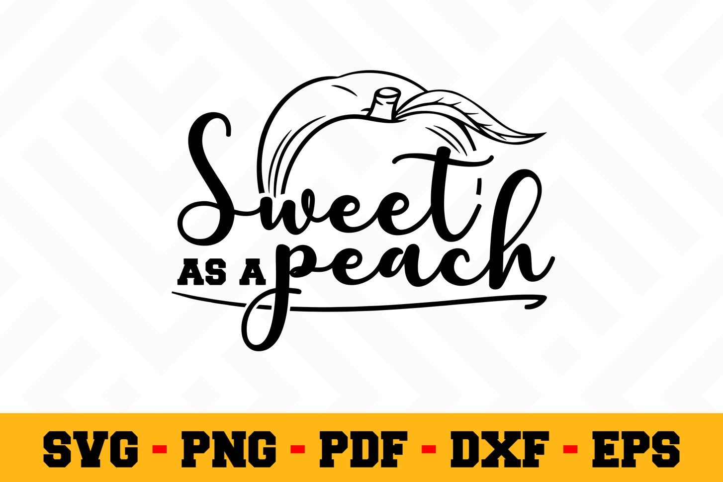 Sweet as a peach SVG Design n651 | Southern SVG Cut File example image 1