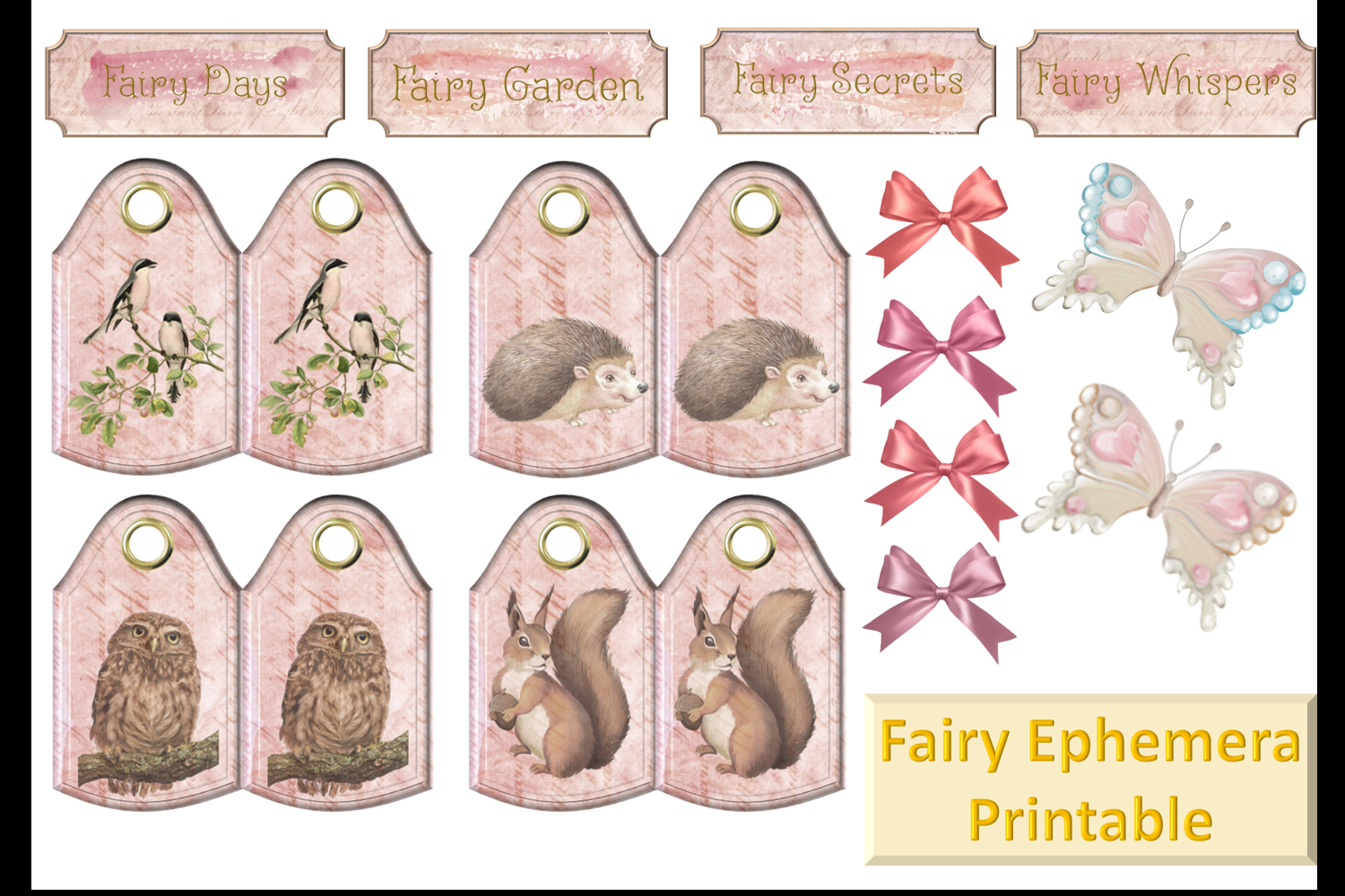Fairy Mega Bundle. 24 backing papers 80 piece total CU example image 9