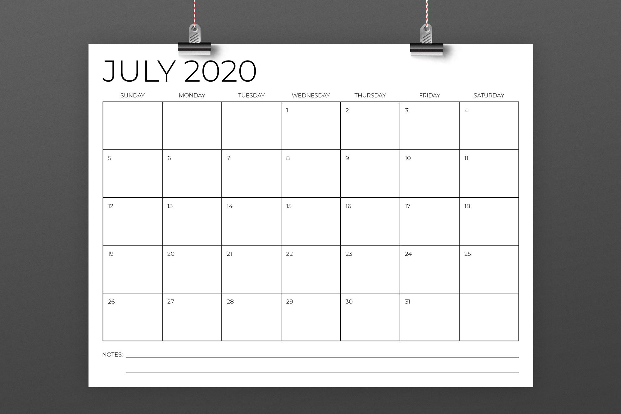 8.5 x 11 Inch Minimal 2020 Calendar example image 4