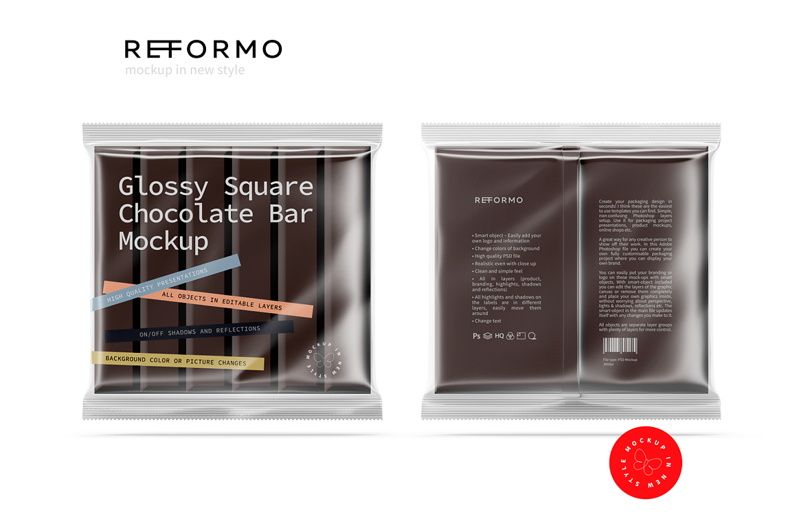 Transparent Square Chocolate Bar Mockup example image 3