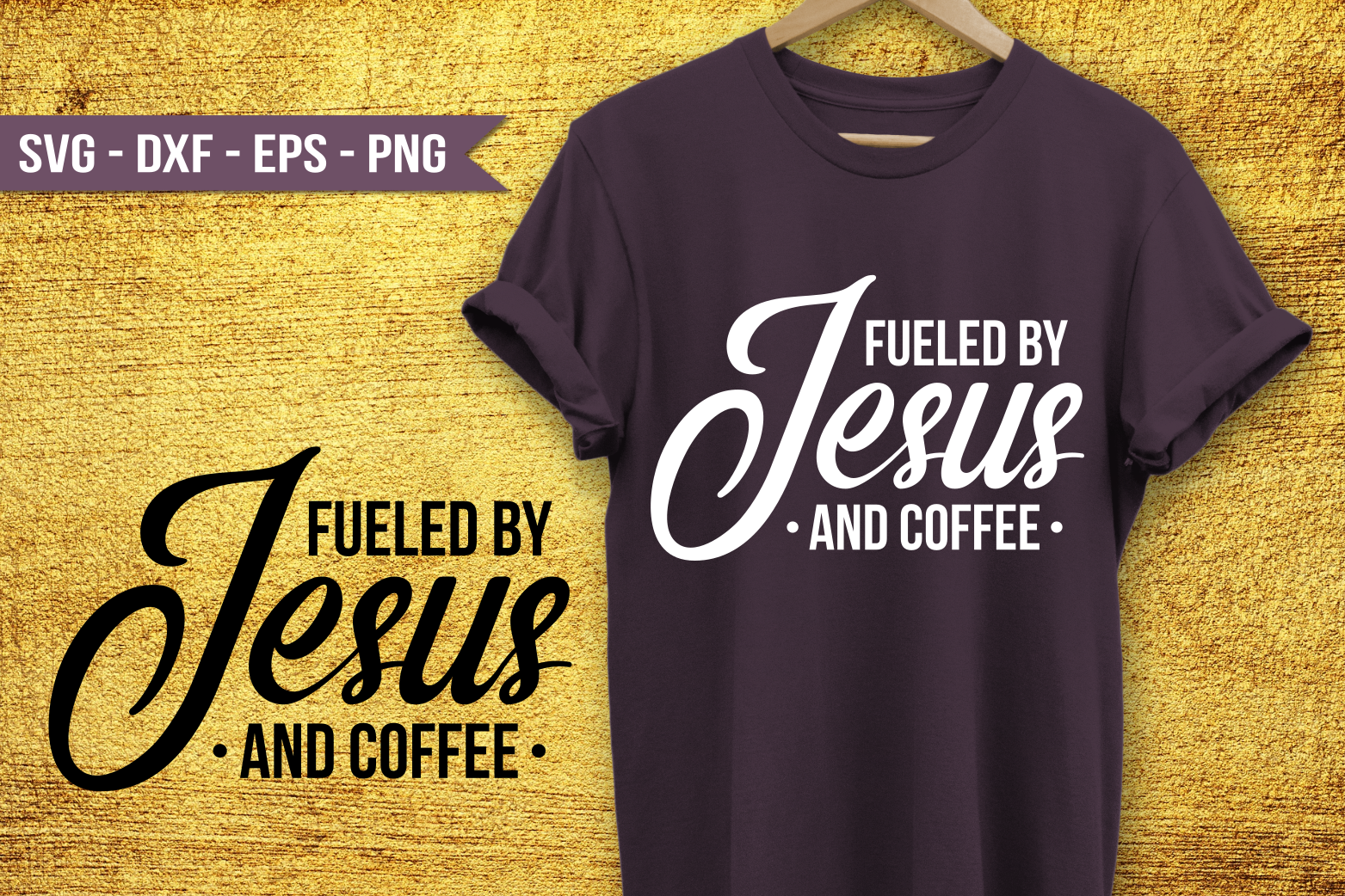 Fueled by Jesus and coffee SVG example image 1