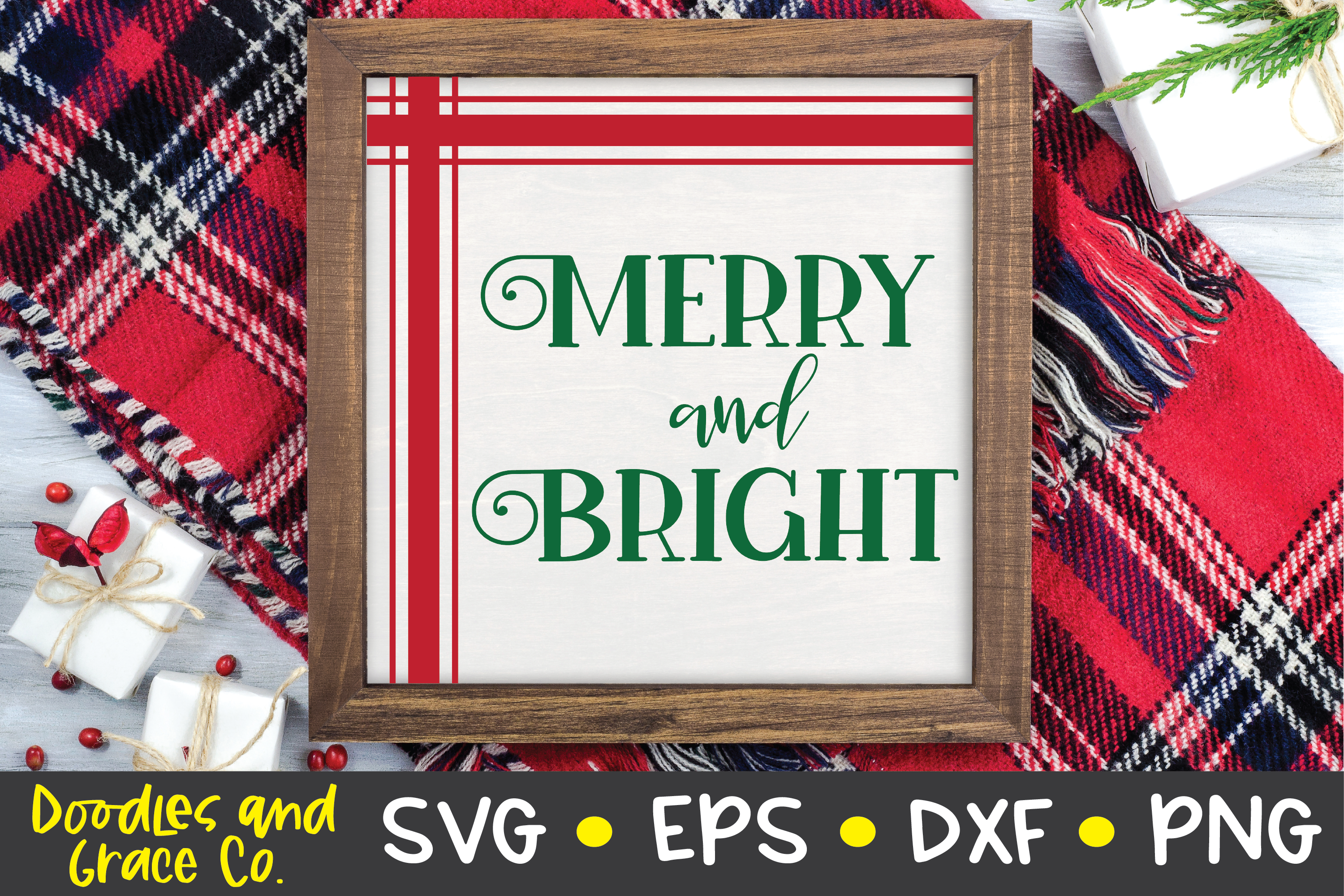 Merry and Bright SVG - Christmas SVG example image 1