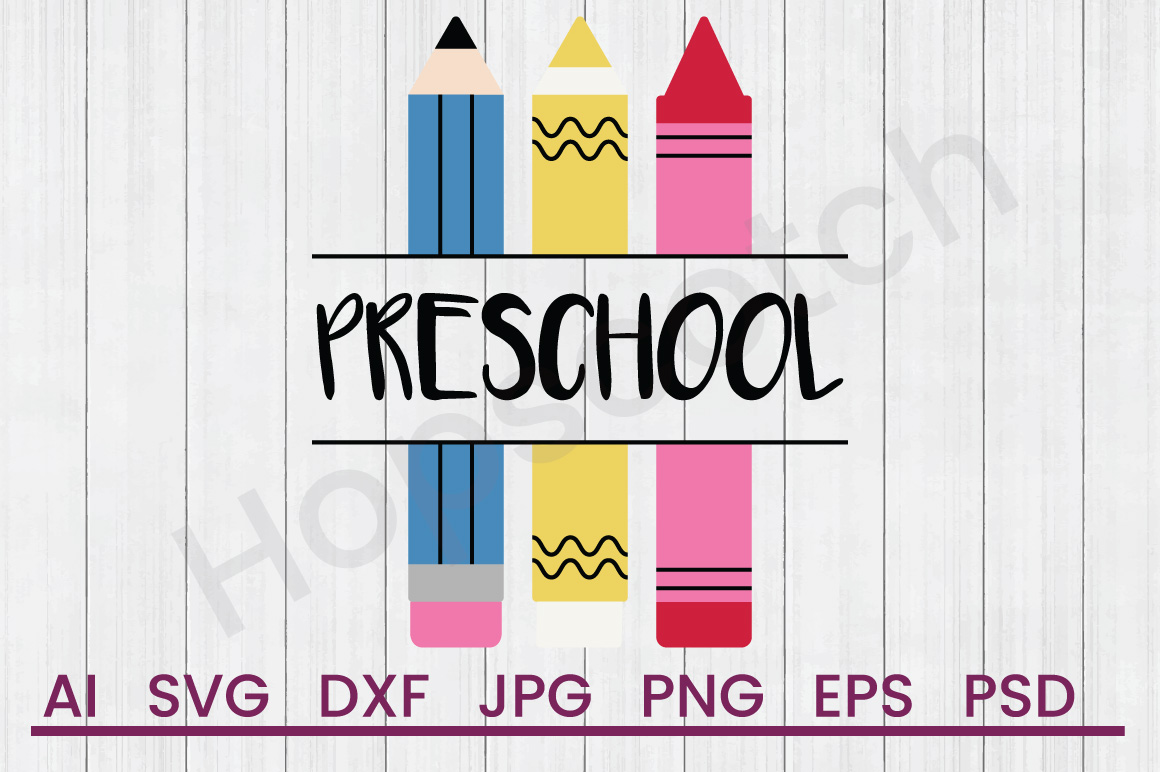 Crayons SVG, Preschool SVG, DXF File, Cuttatable File example image 1