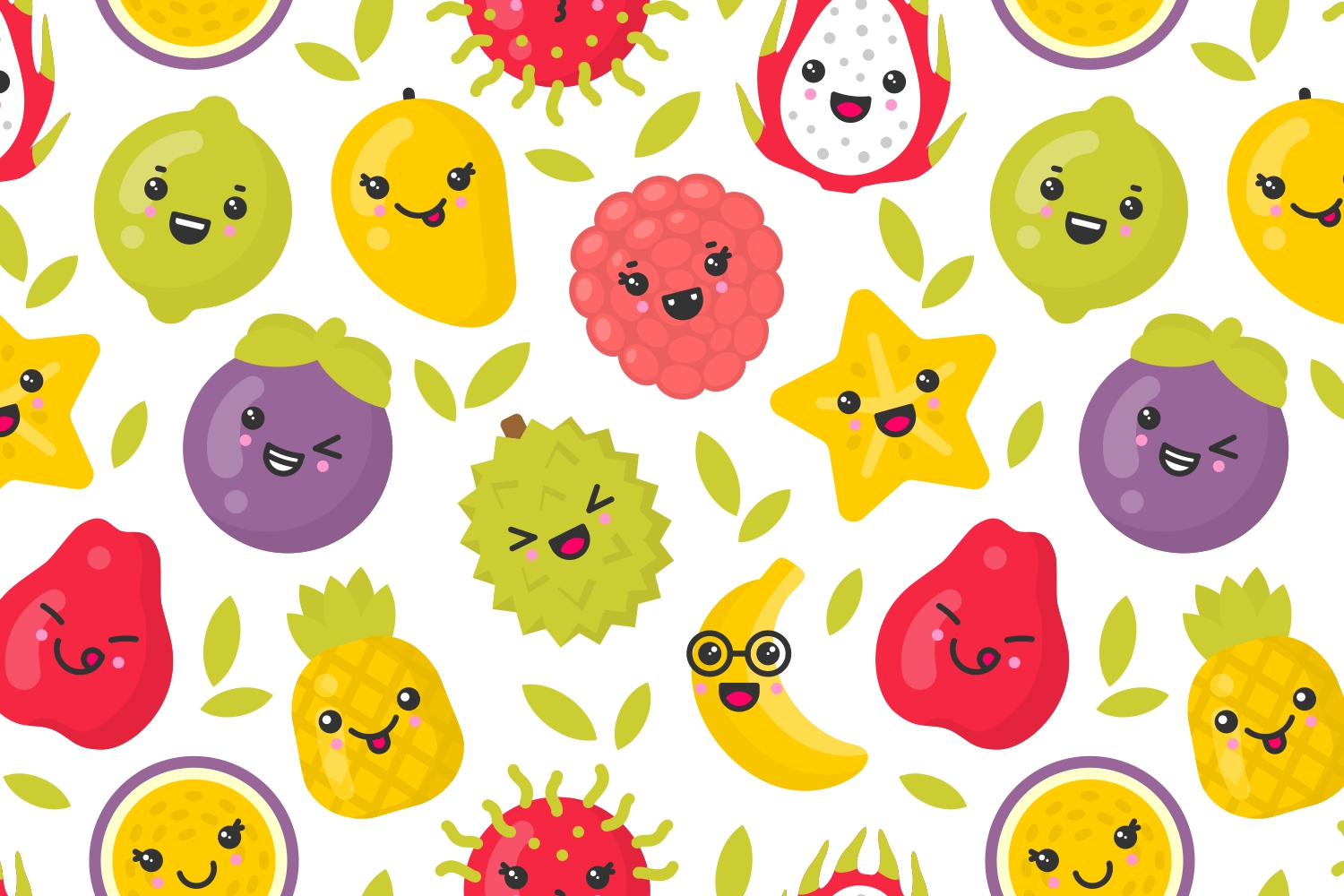 4 cute exotic fruits patterns example image 2