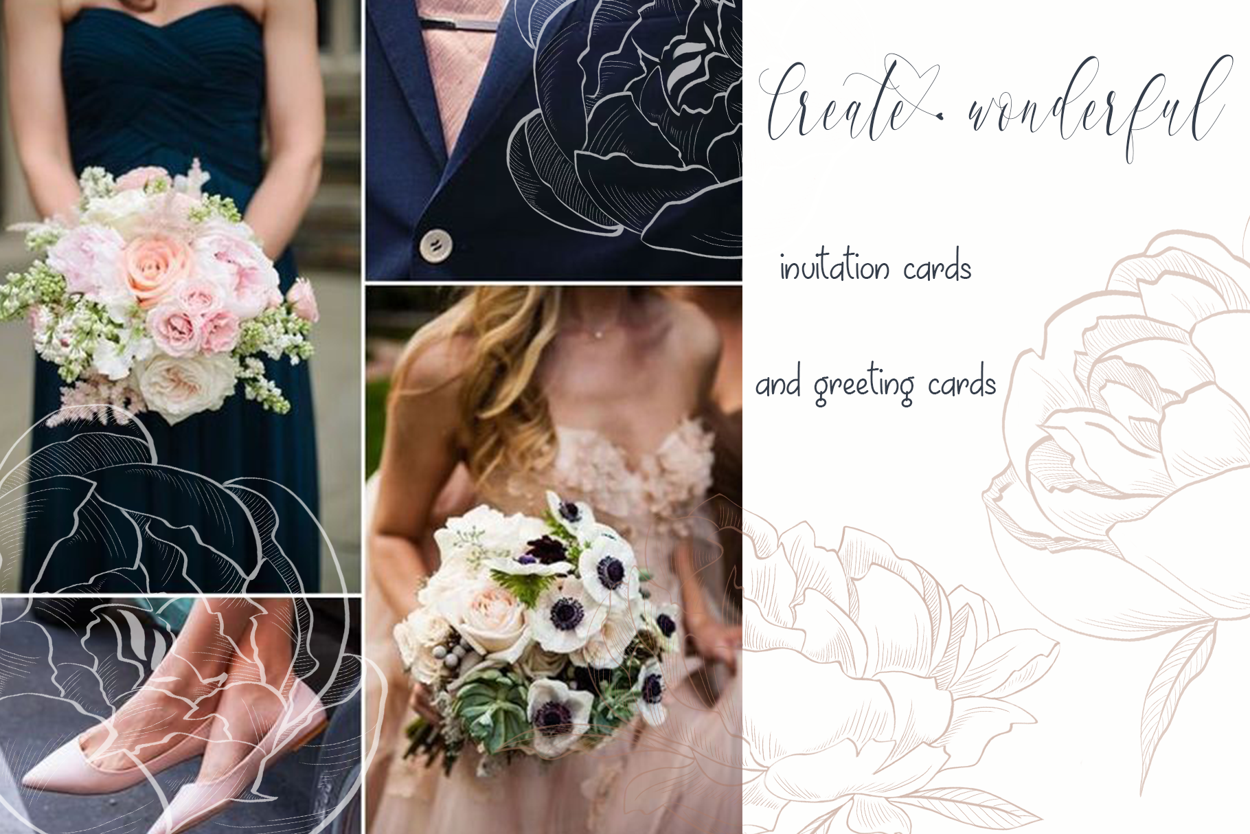 Navy blue and Dusty rose example image 4