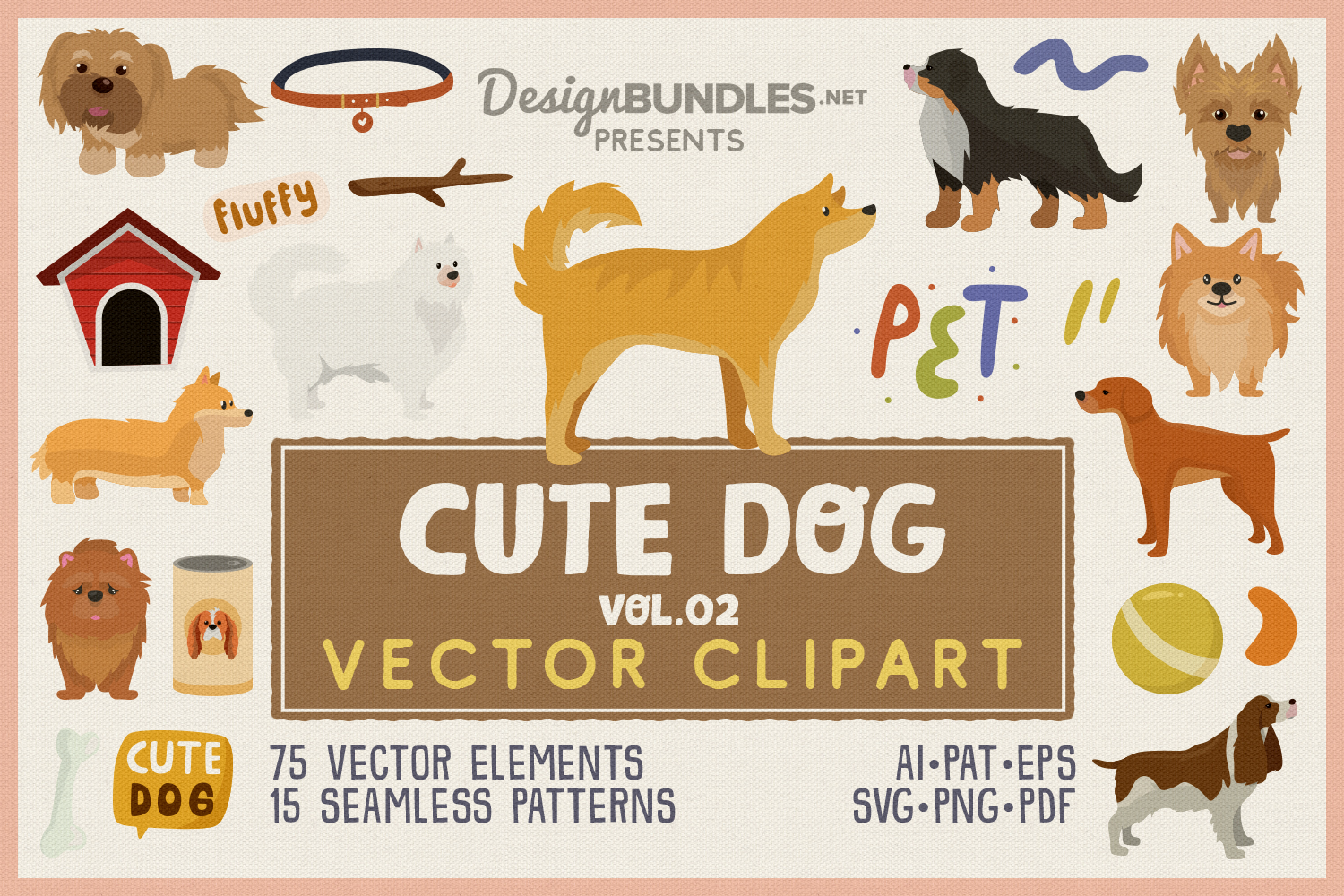 Cute Dog Vol.02 Vector Clipart and Seamless Pattern example image 1