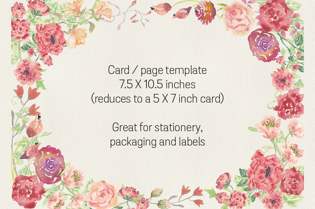 Vintage roses: oval card template plus 2 sprays example image 2