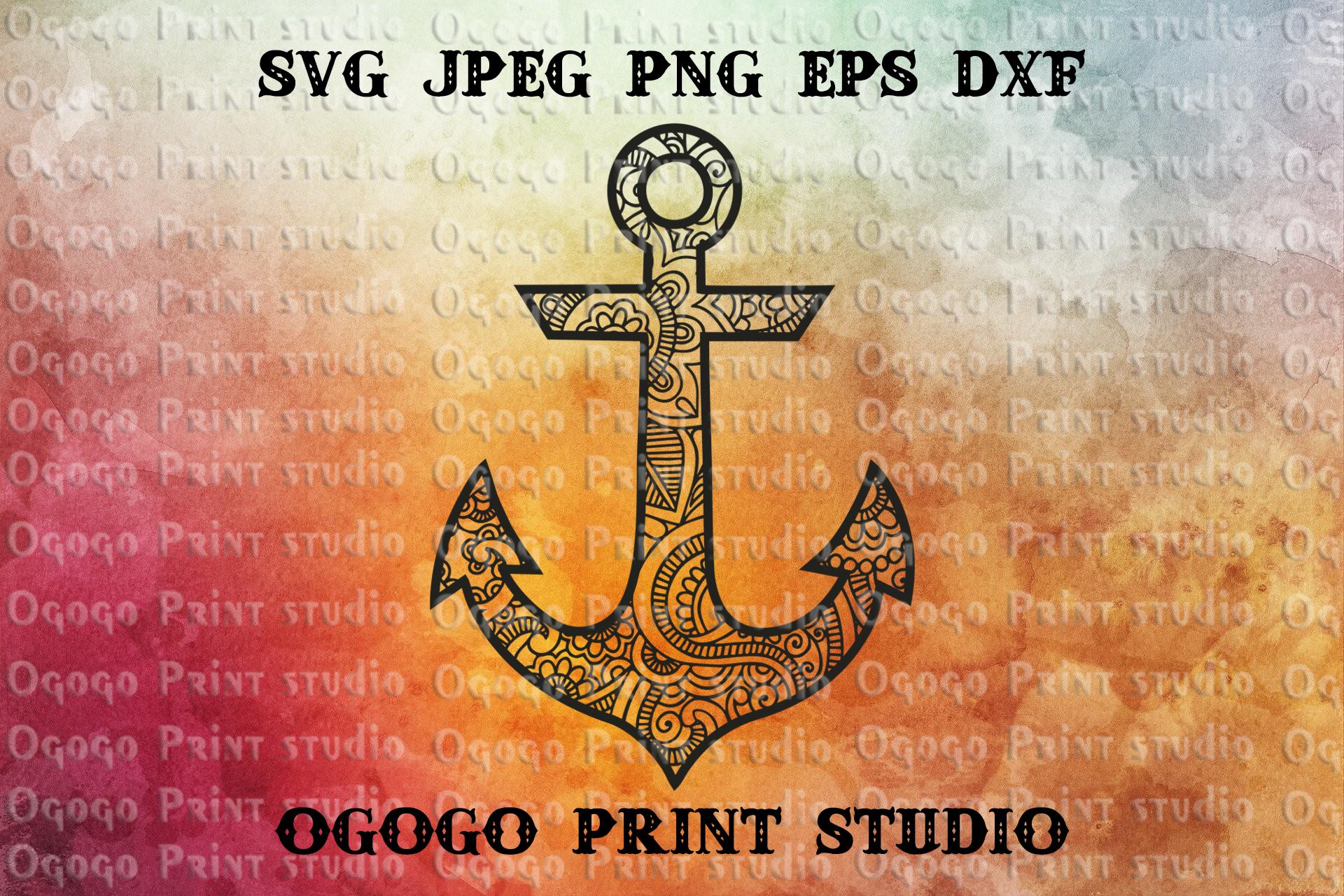Anchor SVG, Zentangle SVG, Ocean Svg, Mandala svg, Sea SVG example image 1